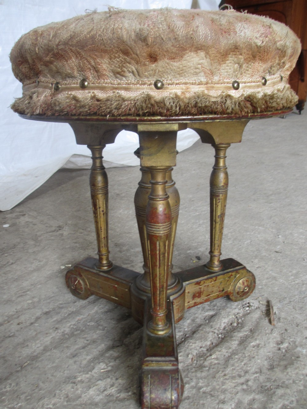 19th century gilt painted adjustable screw top empire style piano stool