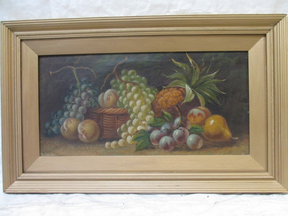 oil painting on canvas still life fruit and basket signed 'tvincent'