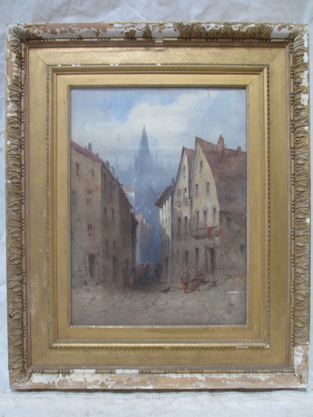 19th century watercolour of continental street with cathedral landscape