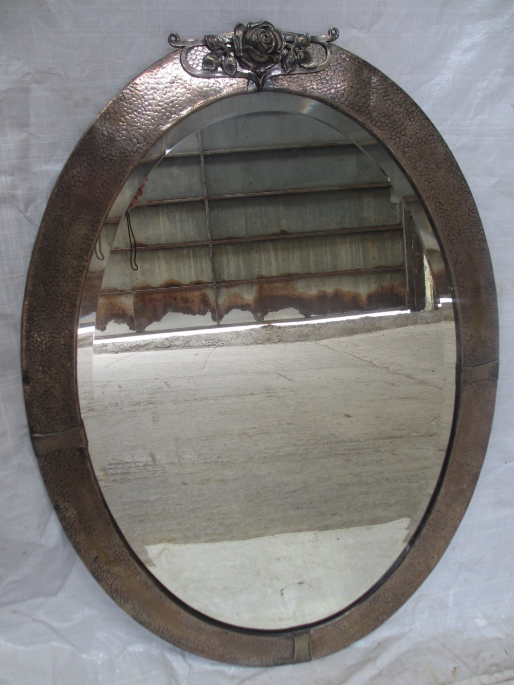 Arts and crafts mirrors - Arts And Crafts Pewter Oval Framed Bevel Edge Wall Mirror