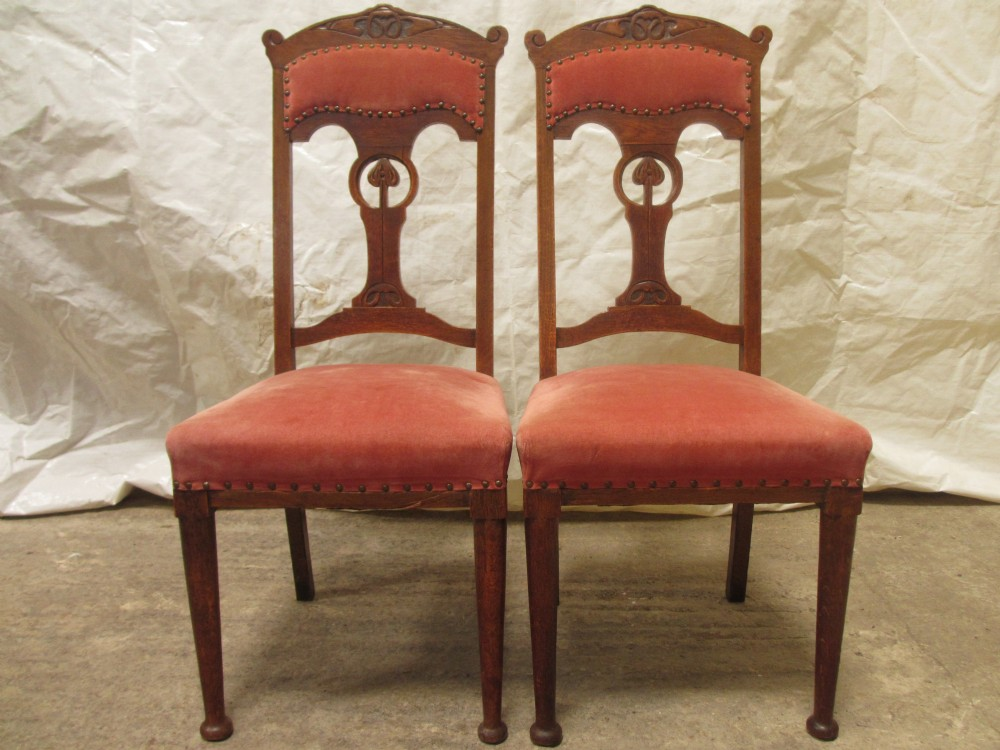 superb pair of carved oak splat high back art nouveau dining side chairs