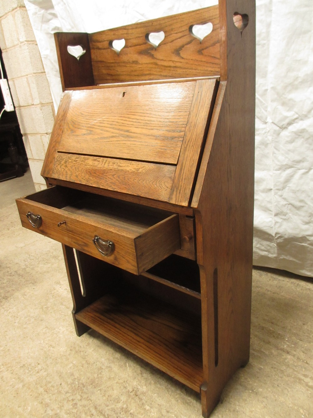 edwardian golden oak art nouveau bureau bookcase 261926. Black Bedroom Furniture Sets. Home Design Ideas