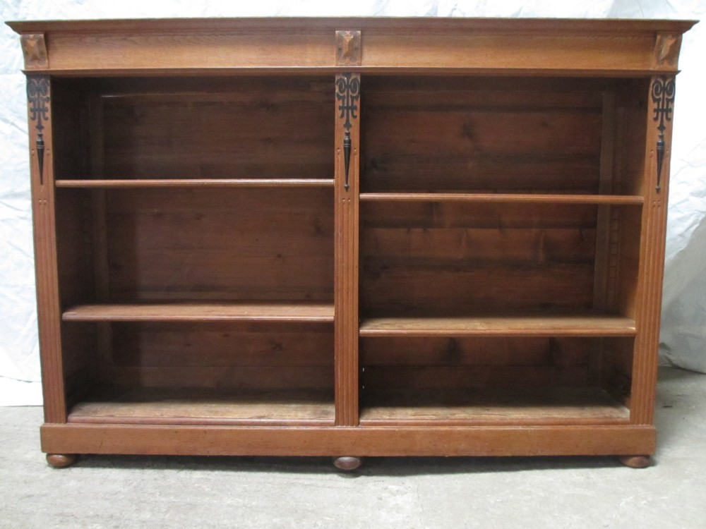 victorian light golden oak double fronted open bookcase