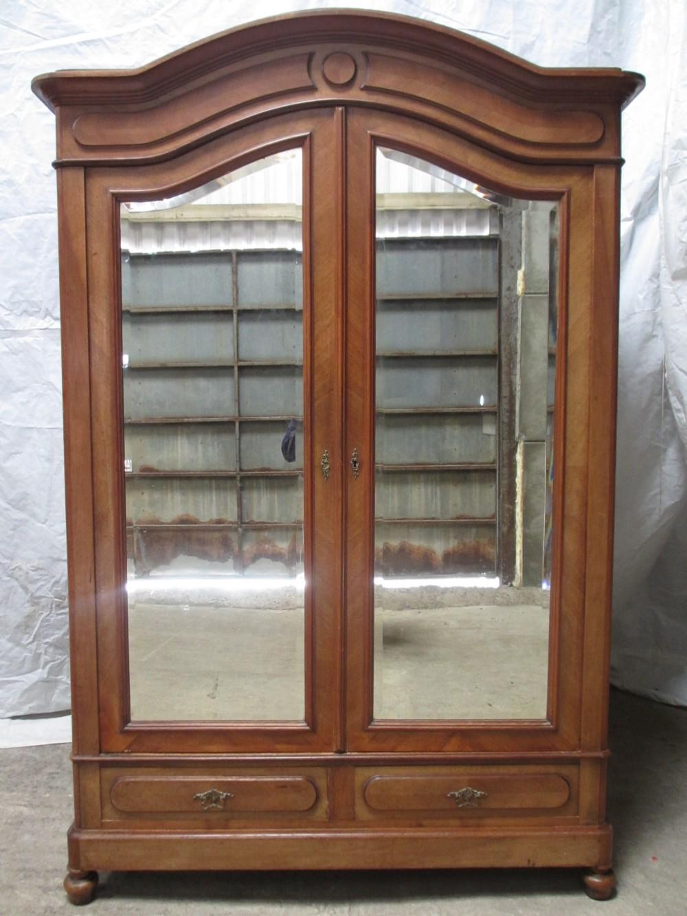 19th century walnut oak backed french mirror 2 door for Mirror wardrobe
