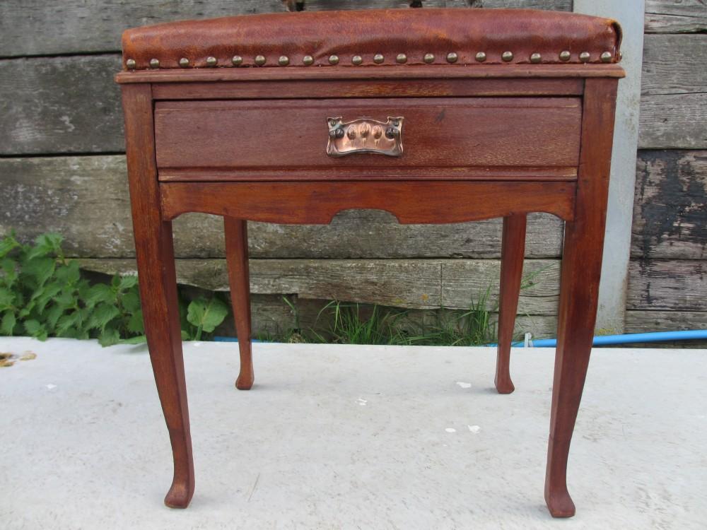 edwardian mahogany tan leather upholstered piano stool