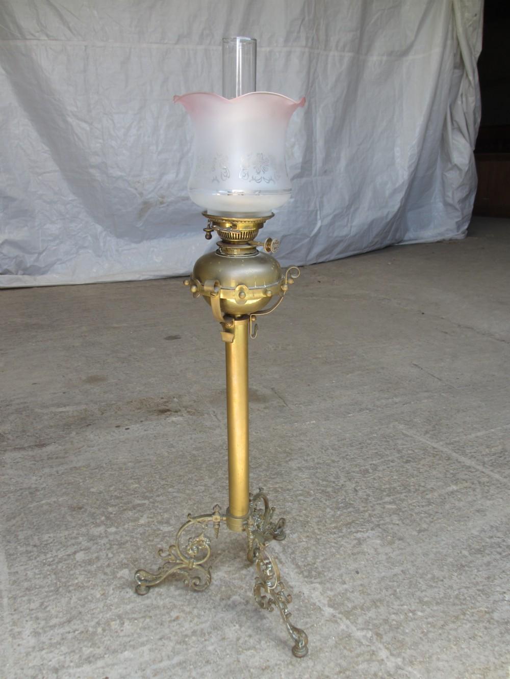 victorian tall brass hinks oil lamp