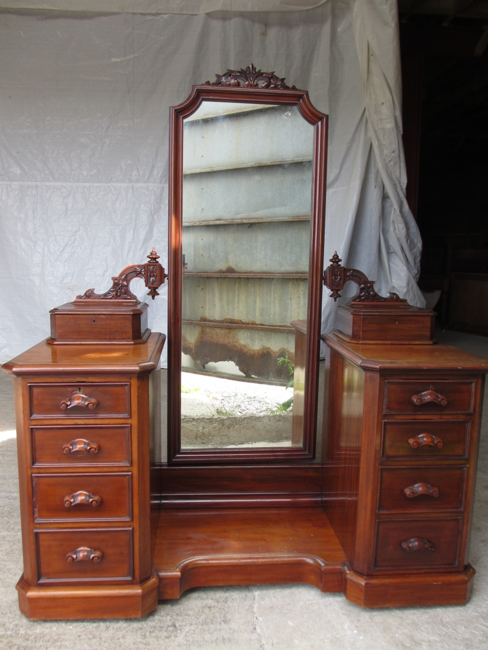Victorian dressing table - Superb Victorian Mahogany Cheval Mirror Dressing Table Chest