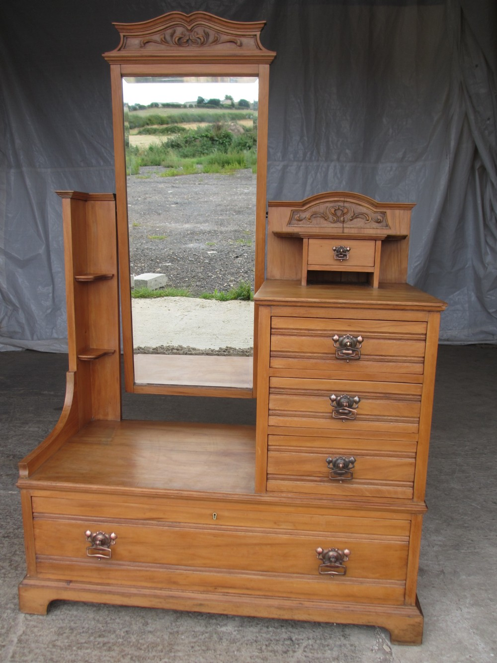 Victorian Edwardian Satin Wood Art Nouveau Cheval Mirror Dressing Table  Chest