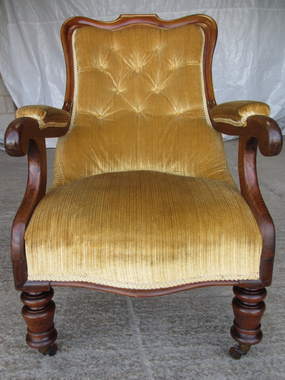victorian mahogany button back open armchair