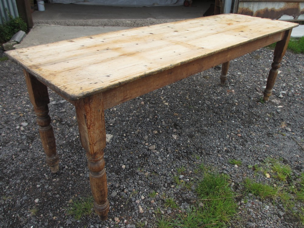 Victorian Long Narrow Plank Top Pine Kitchen Refectory Dining Table On Turned