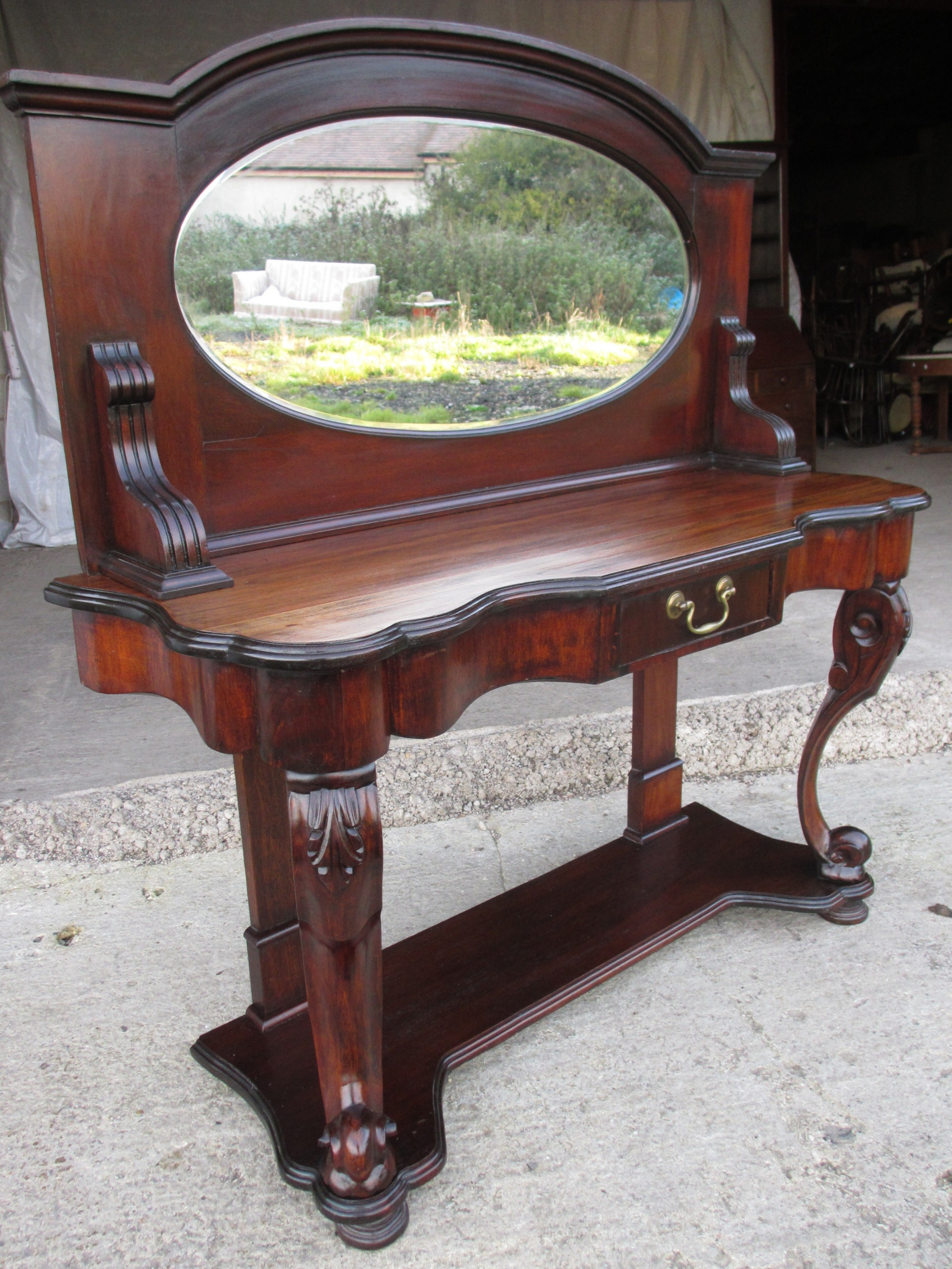 victorian mahogany mirrored duchess dressing table with scroll supports