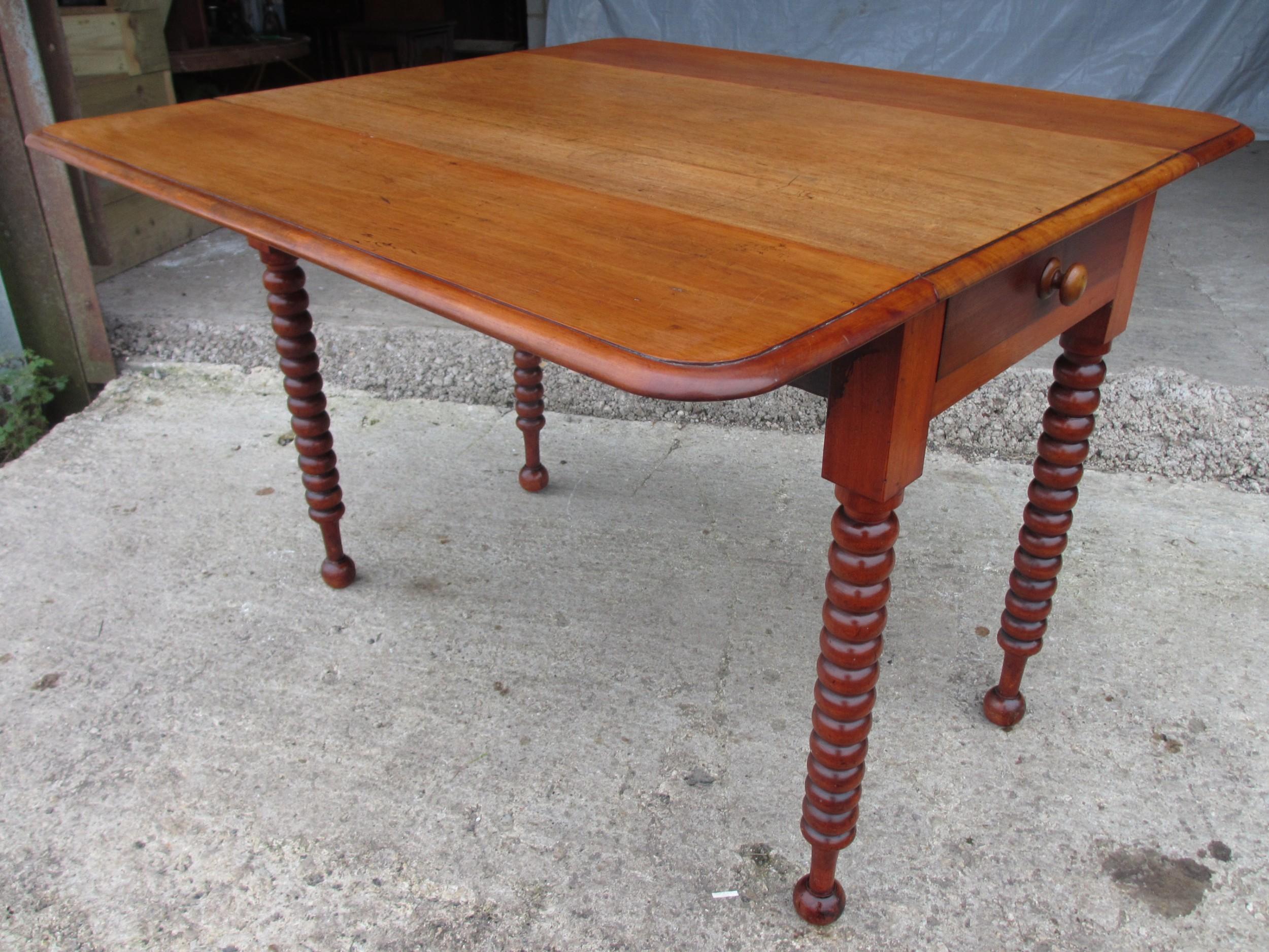 victorian mahogany bobbin leg pembroke table with drawer