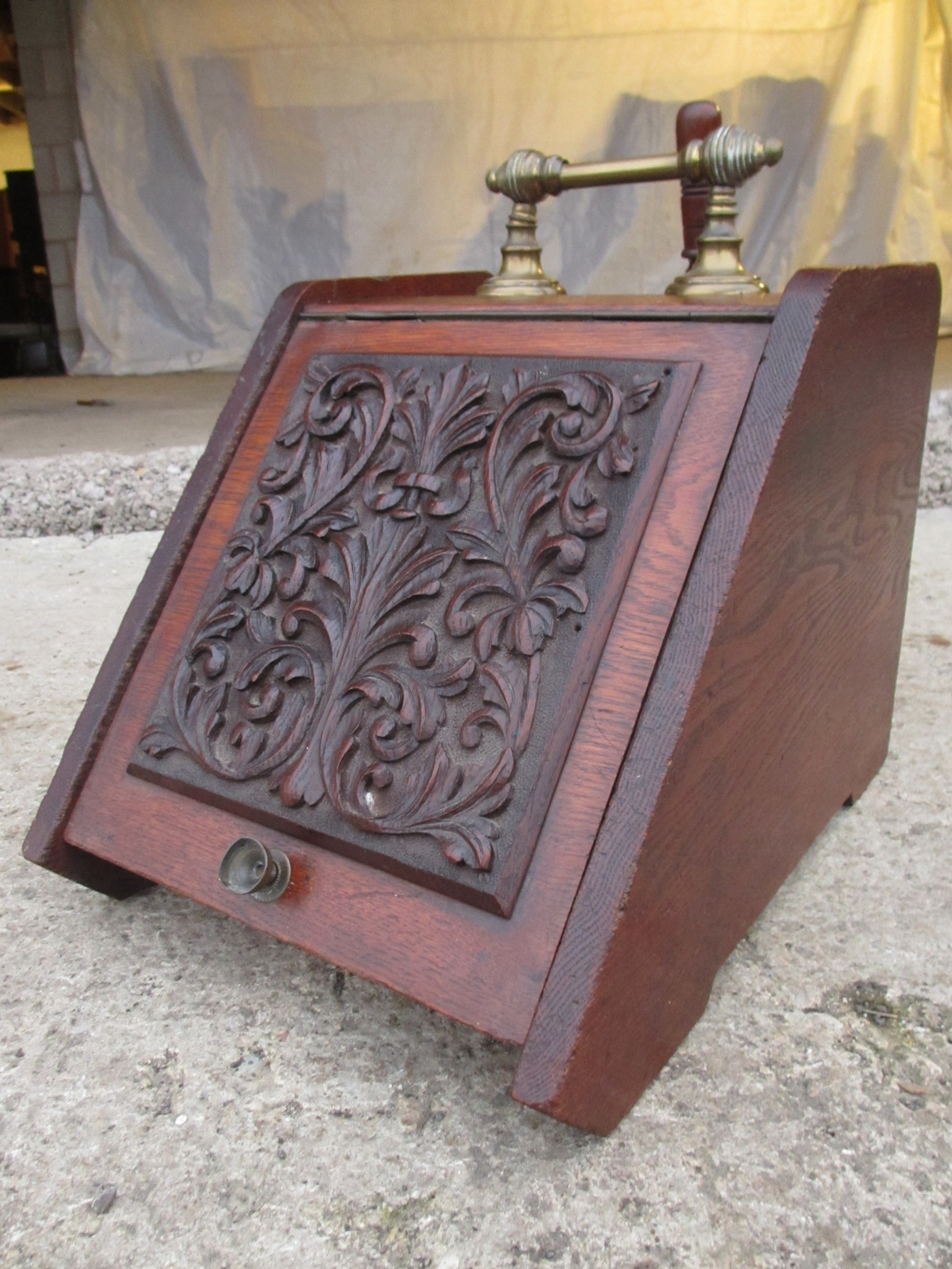 victorian carved front purdonium or coal box with brass handle and shovel