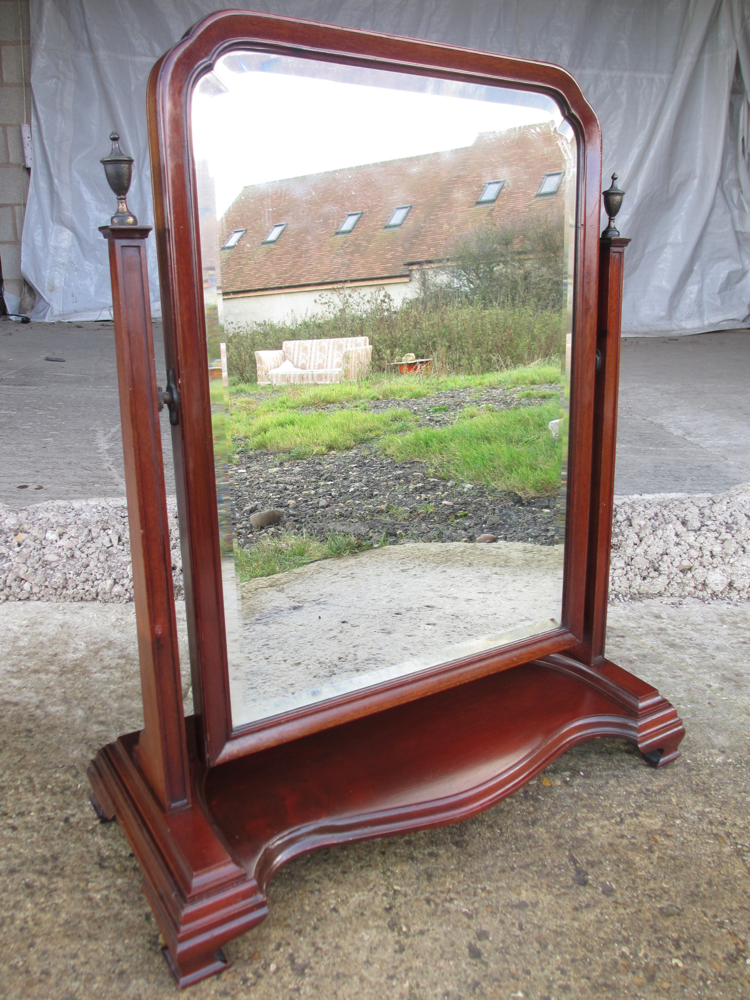 19th century bevel edged swing dressing table mirror with brass finials