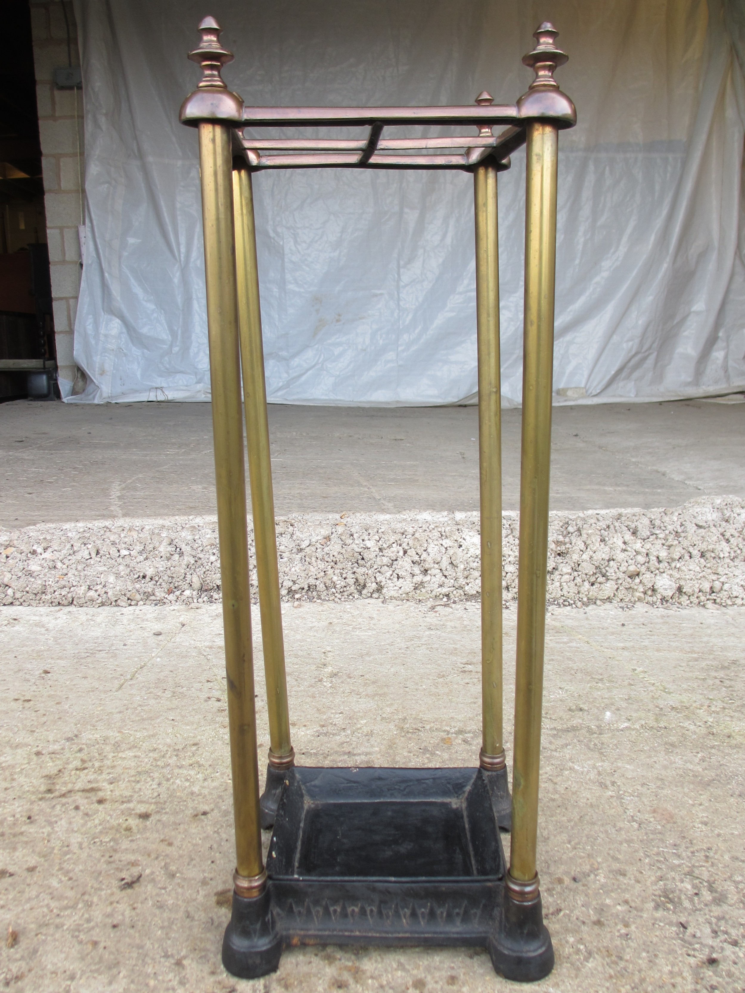 victorian brass and iron 4 section stickumbrella stand with drip tray