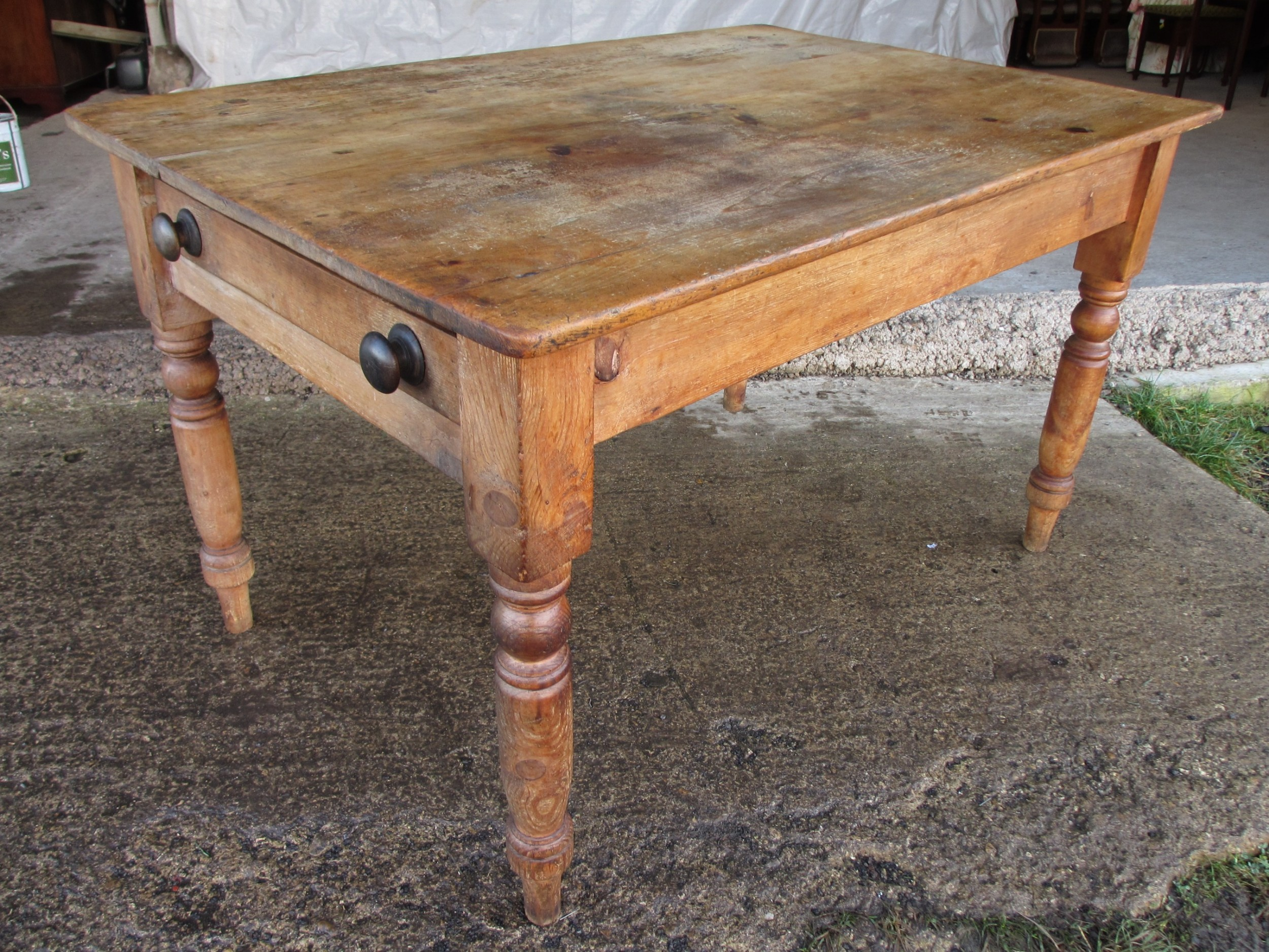 Victorian Pine Kitchen Table With Large Cutlery Drawer On