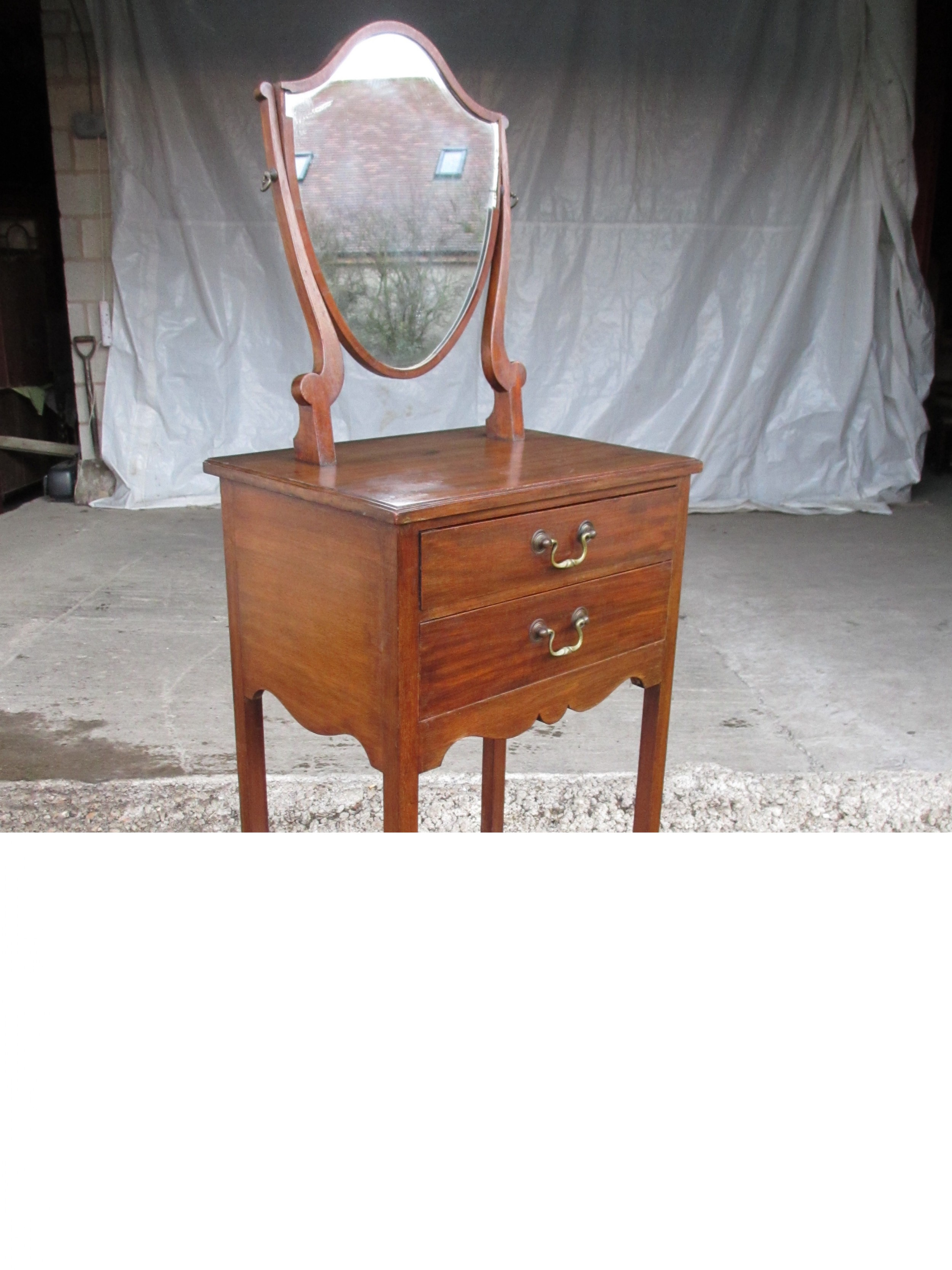edwardian mahogany shaving stand with shield mirror and 2 drawers