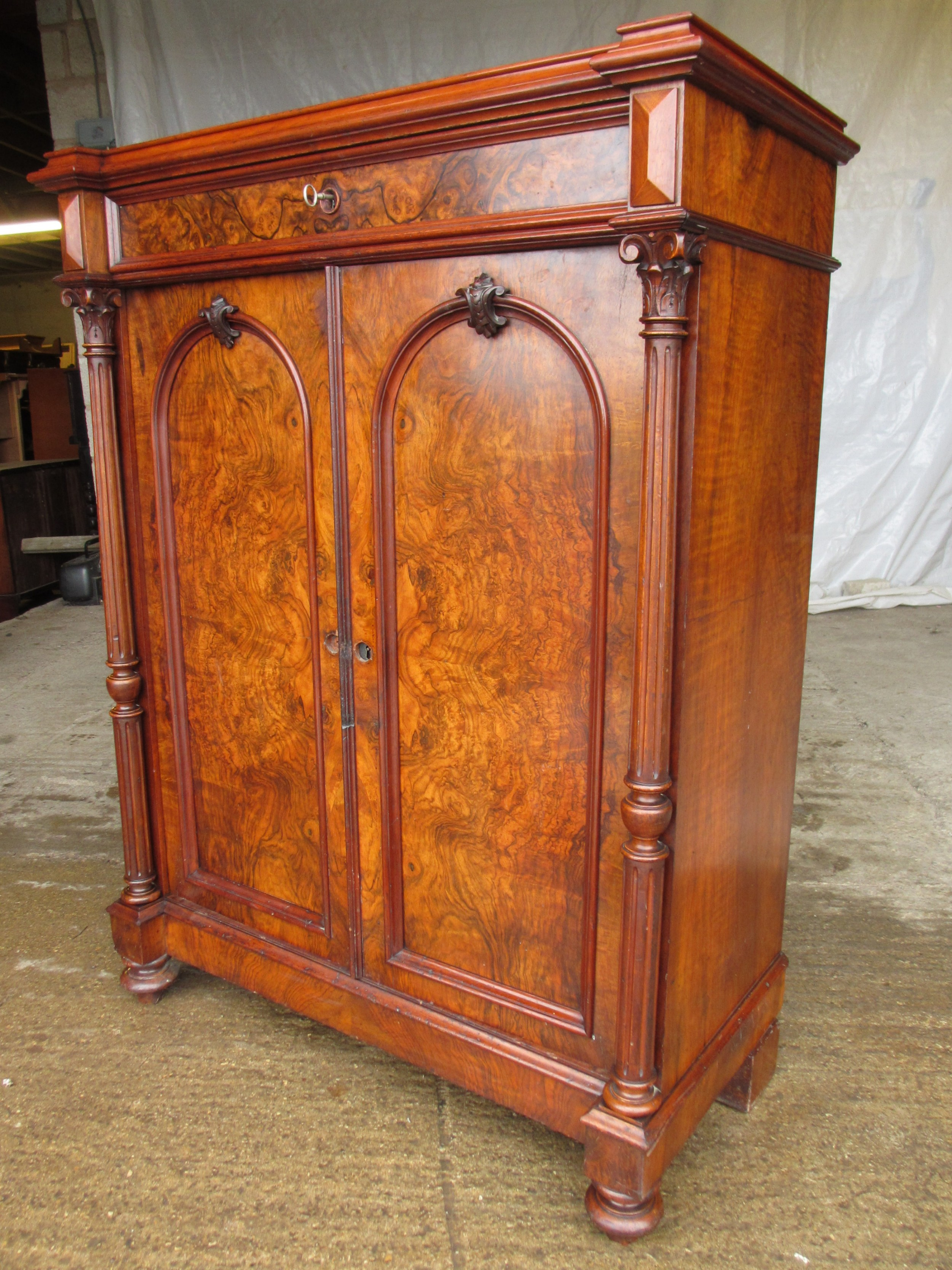 superb victorian burr walnut cabinet buffet with key