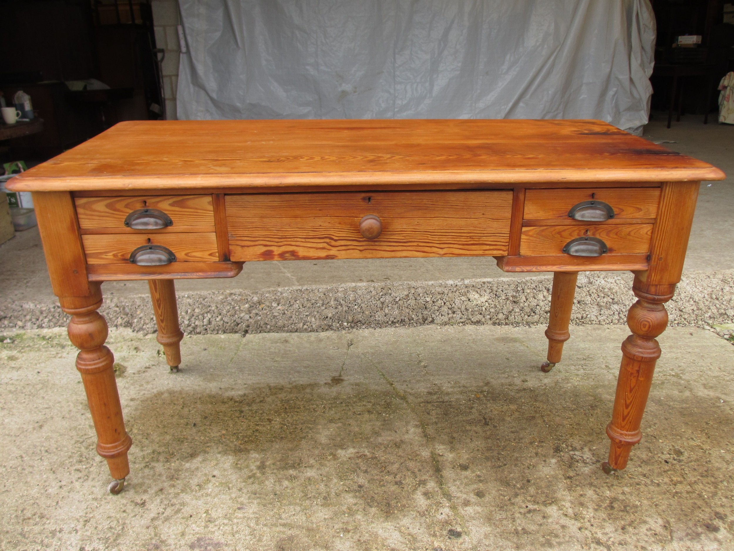 victorian pitch pine writing library desk with 5 drawers