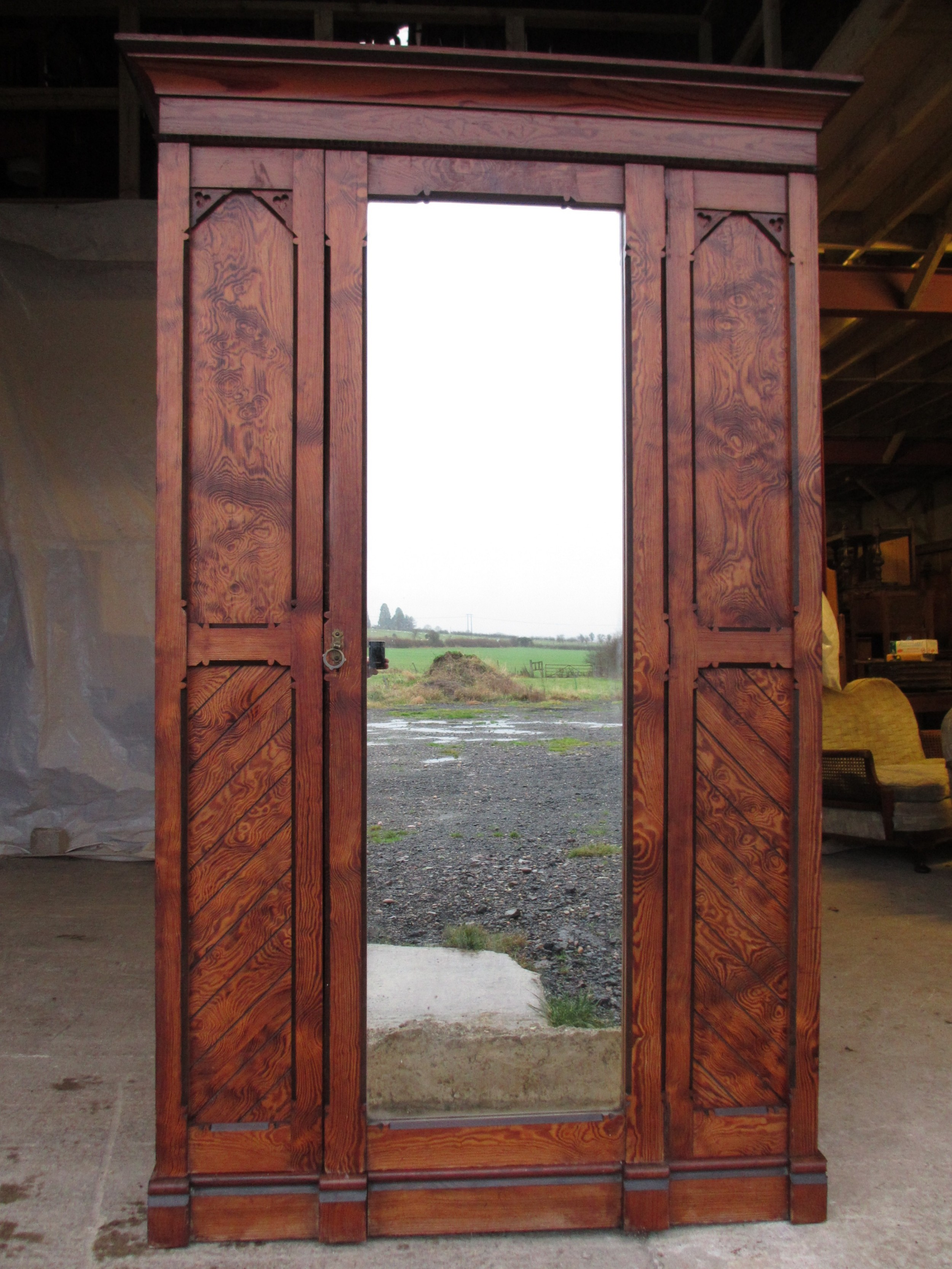 superb victorian gothic pitch pine mirrored door linen press wardrobe