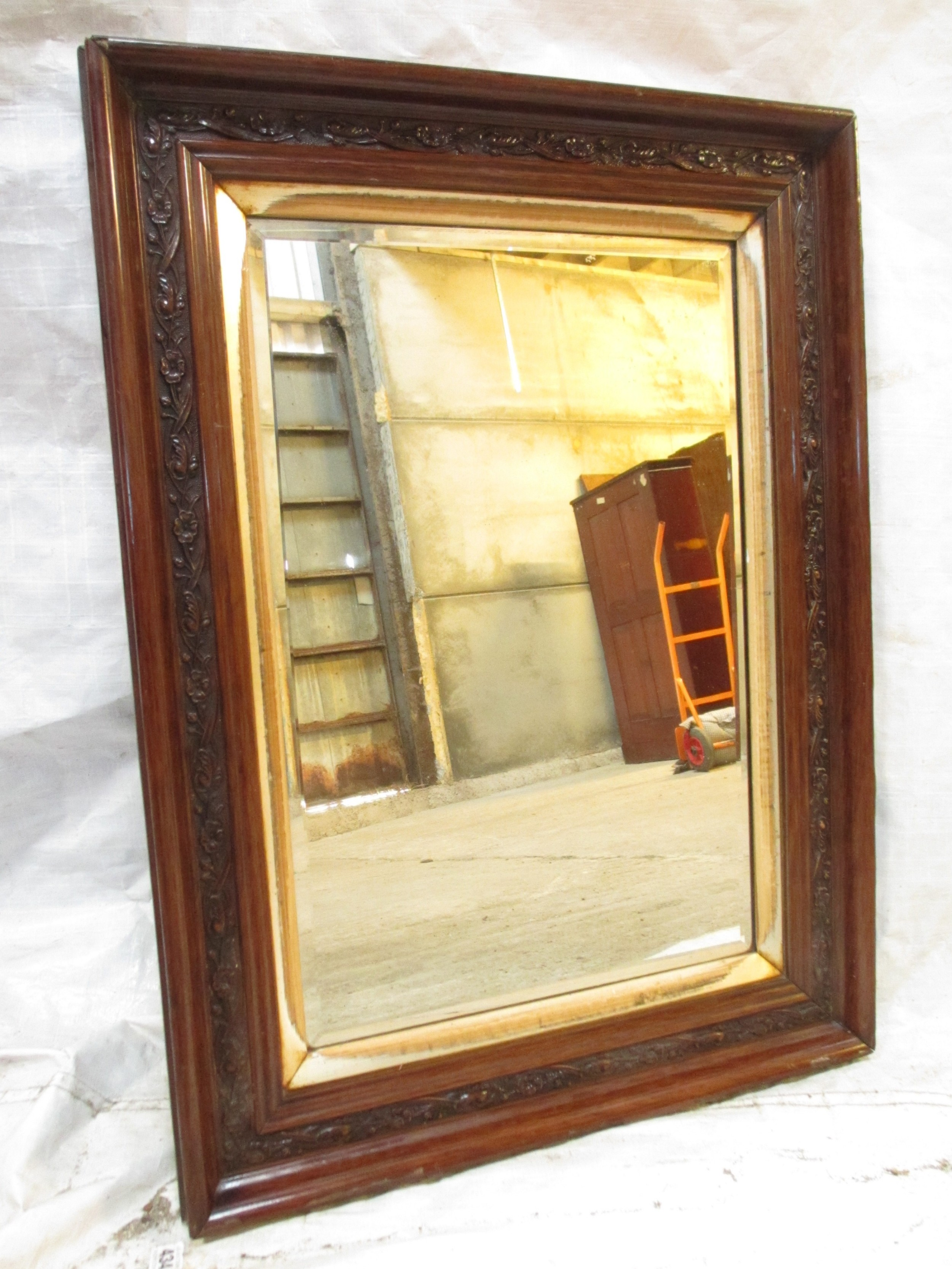 victorian carved floral mahogany and gilt framed bevel glass wall hanging mirror