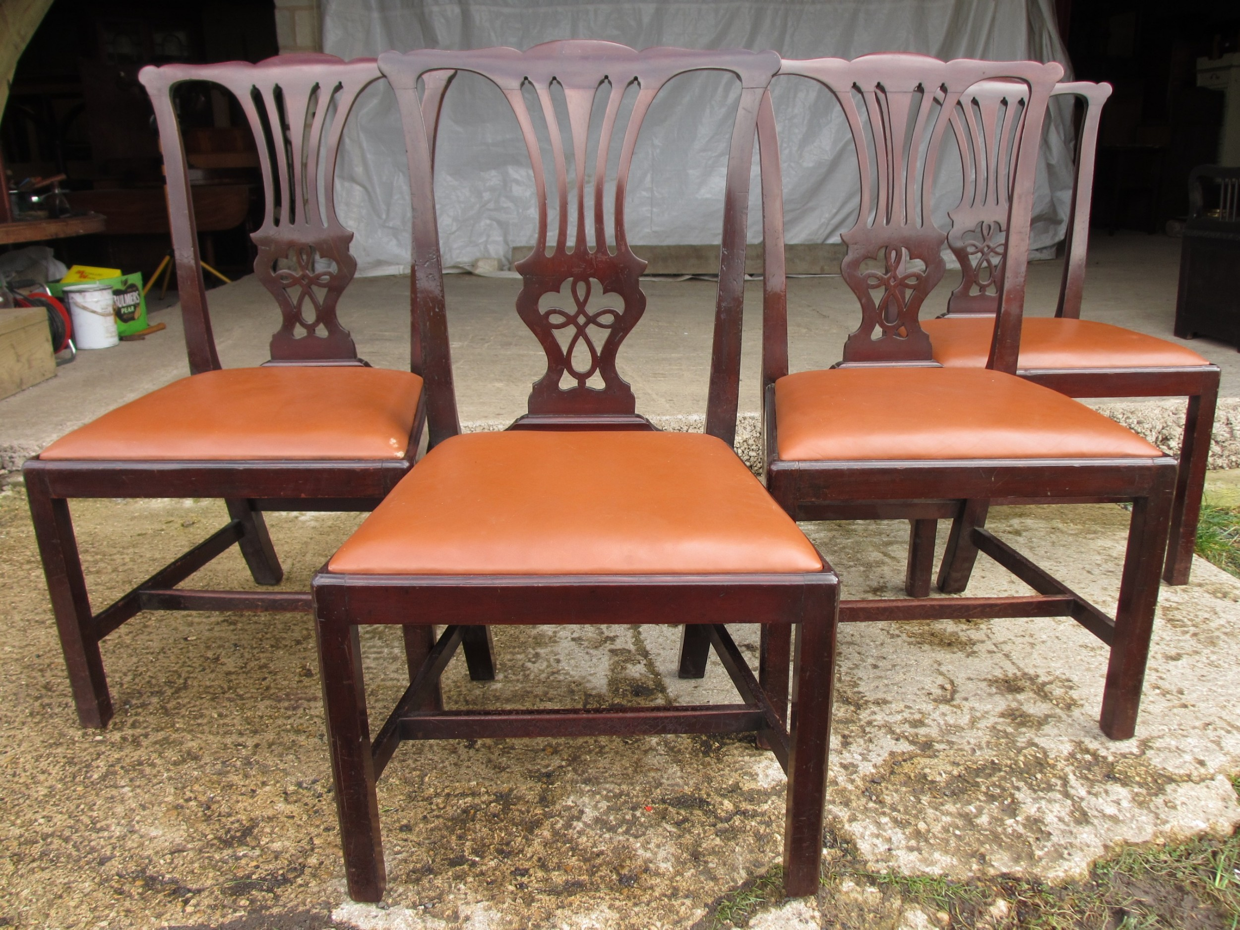 set of four 19th century mahogany chippendale style dining chairs