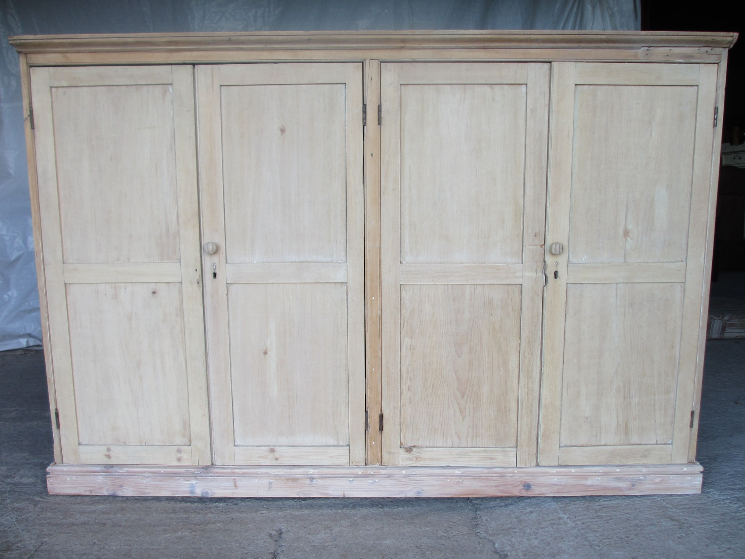 victorian large pine four door scullery side cabinet