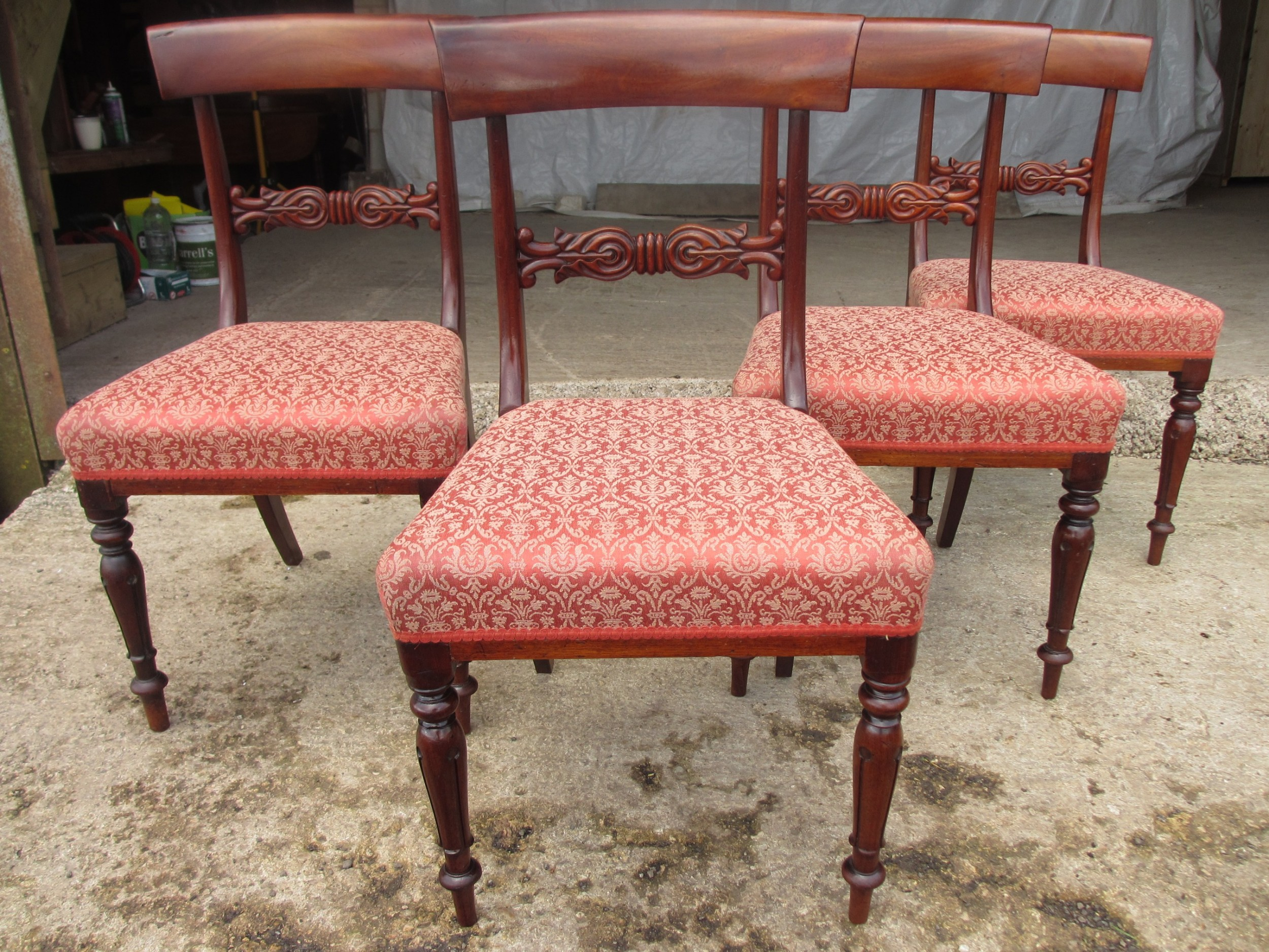 set of four victorian mahogany bar back dining chairs