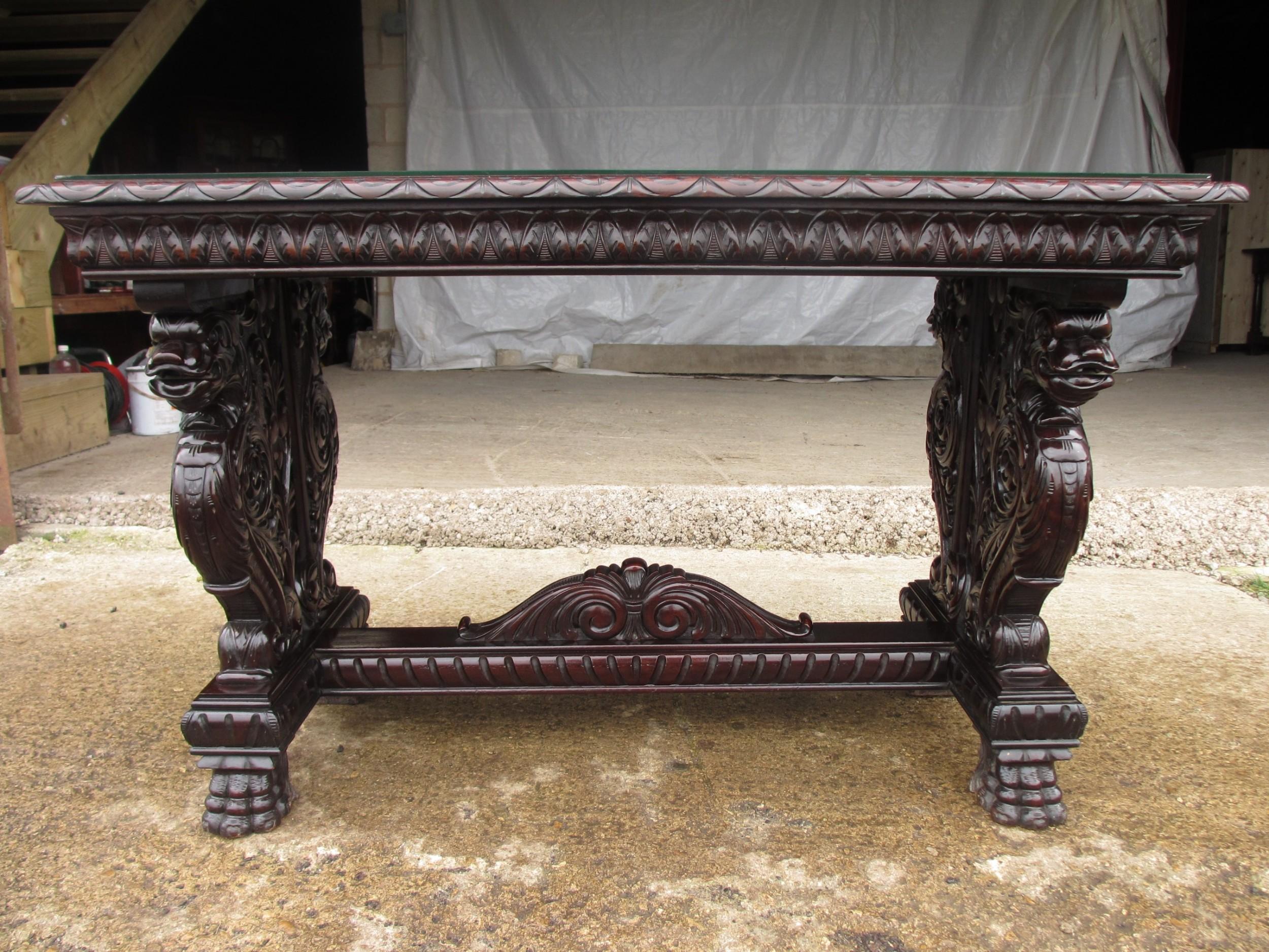 scroll carved brazilian mahogany centre console table