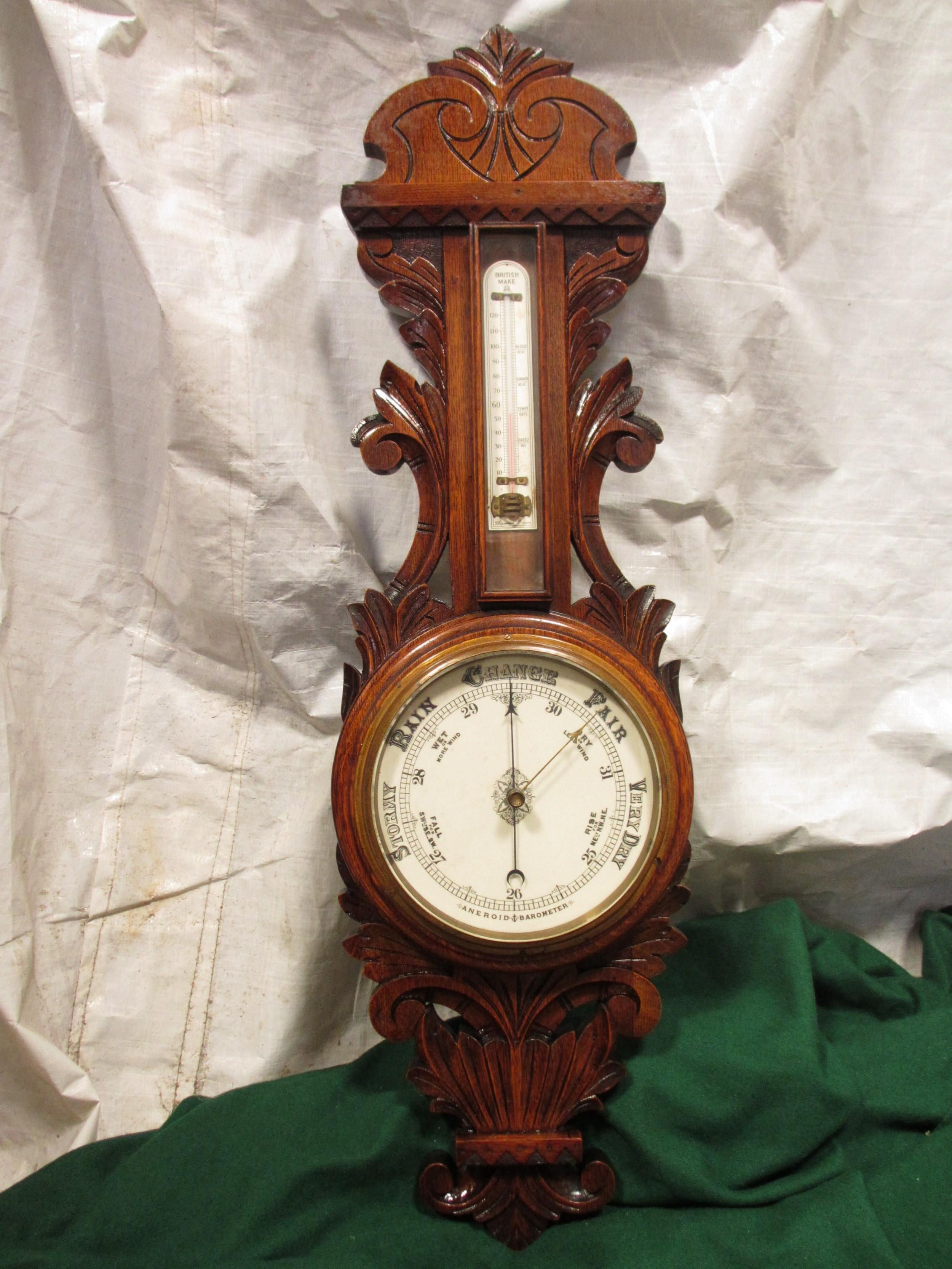lovely victorian carved oak wheel barometer by brannon london