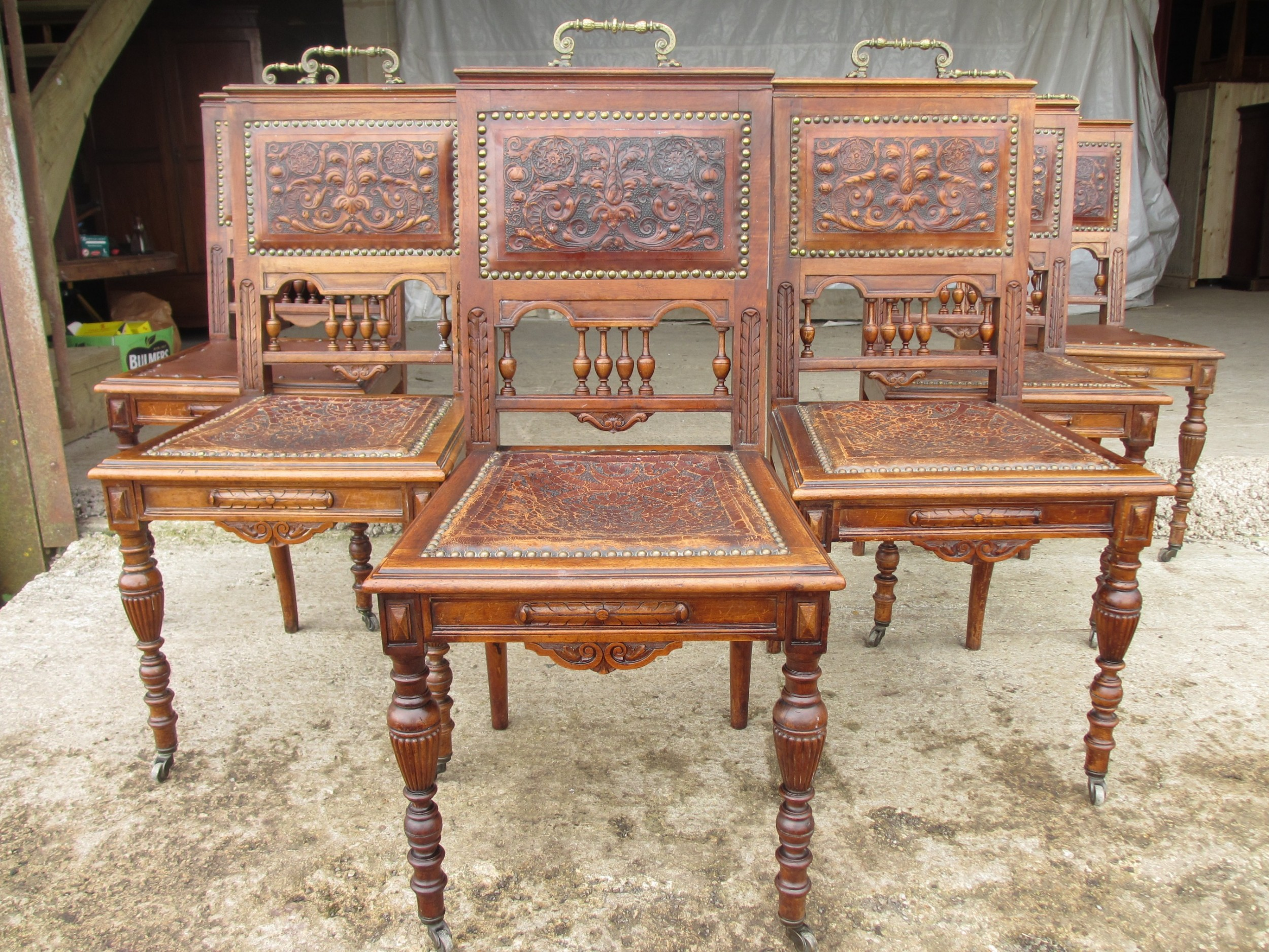 set of 6 unusual victorian dining chairs