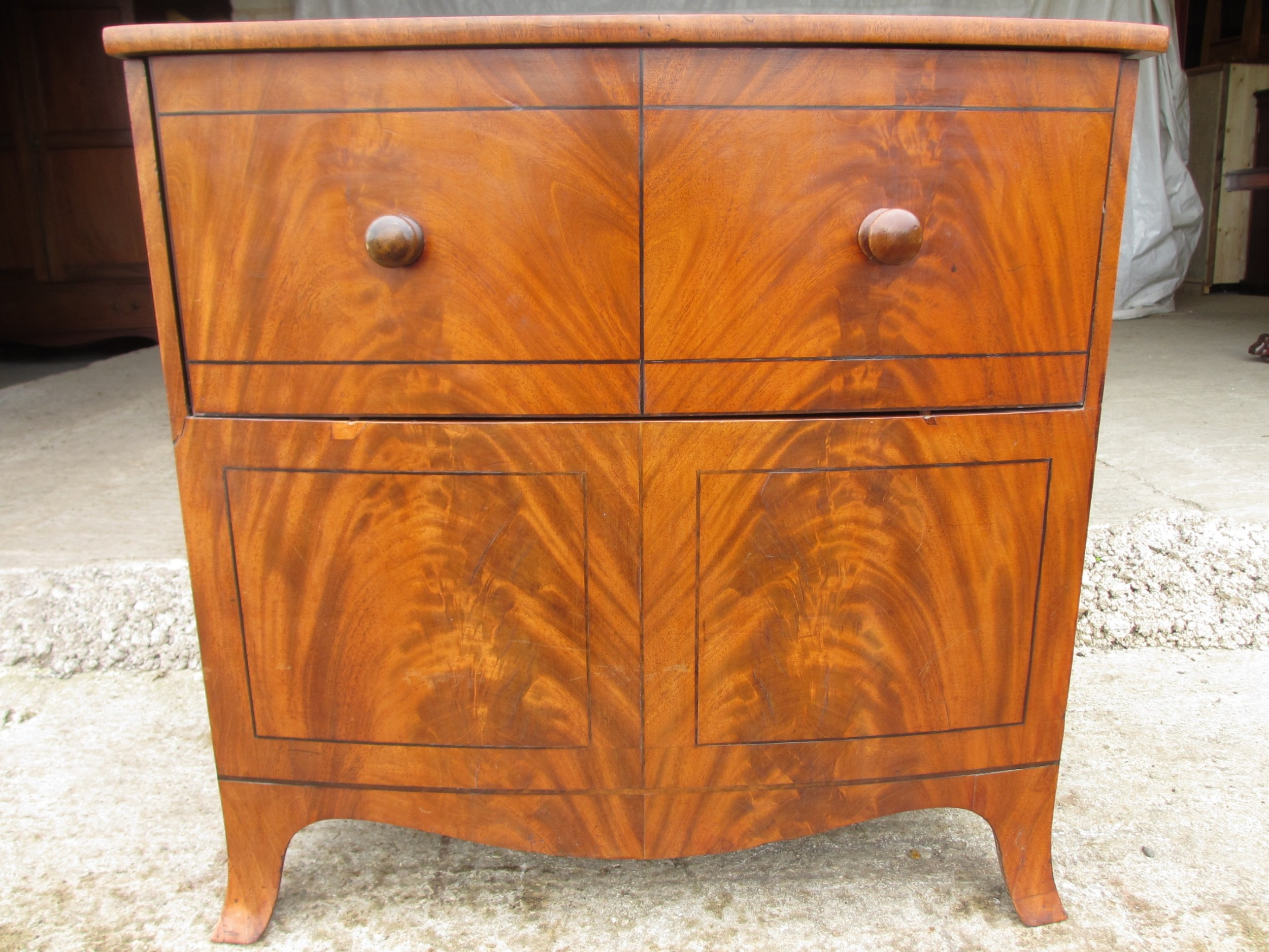 georgian flame mahogany bow fronted pot commode