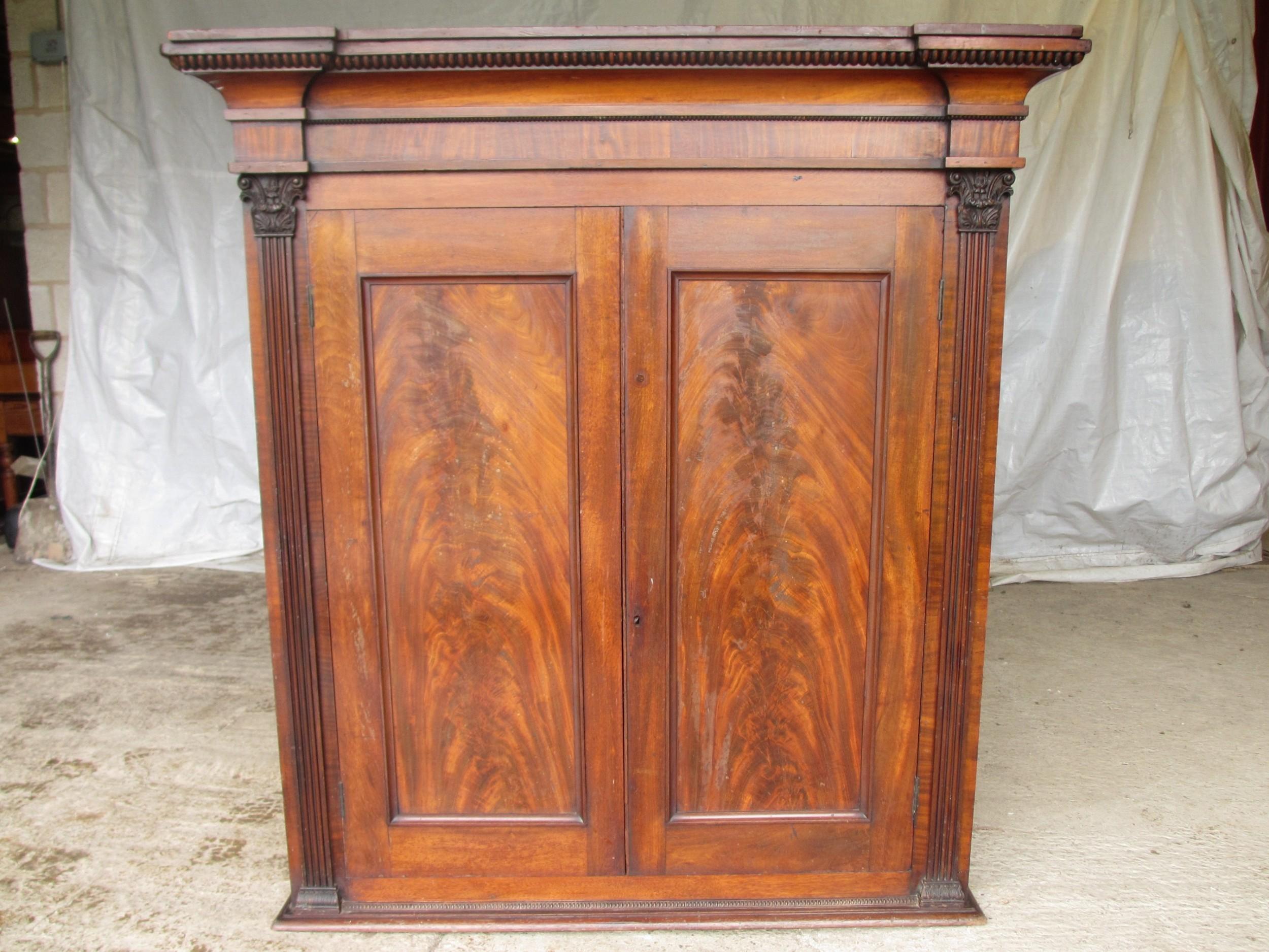 georgian flame mahogany 2 door cabinet bookcase