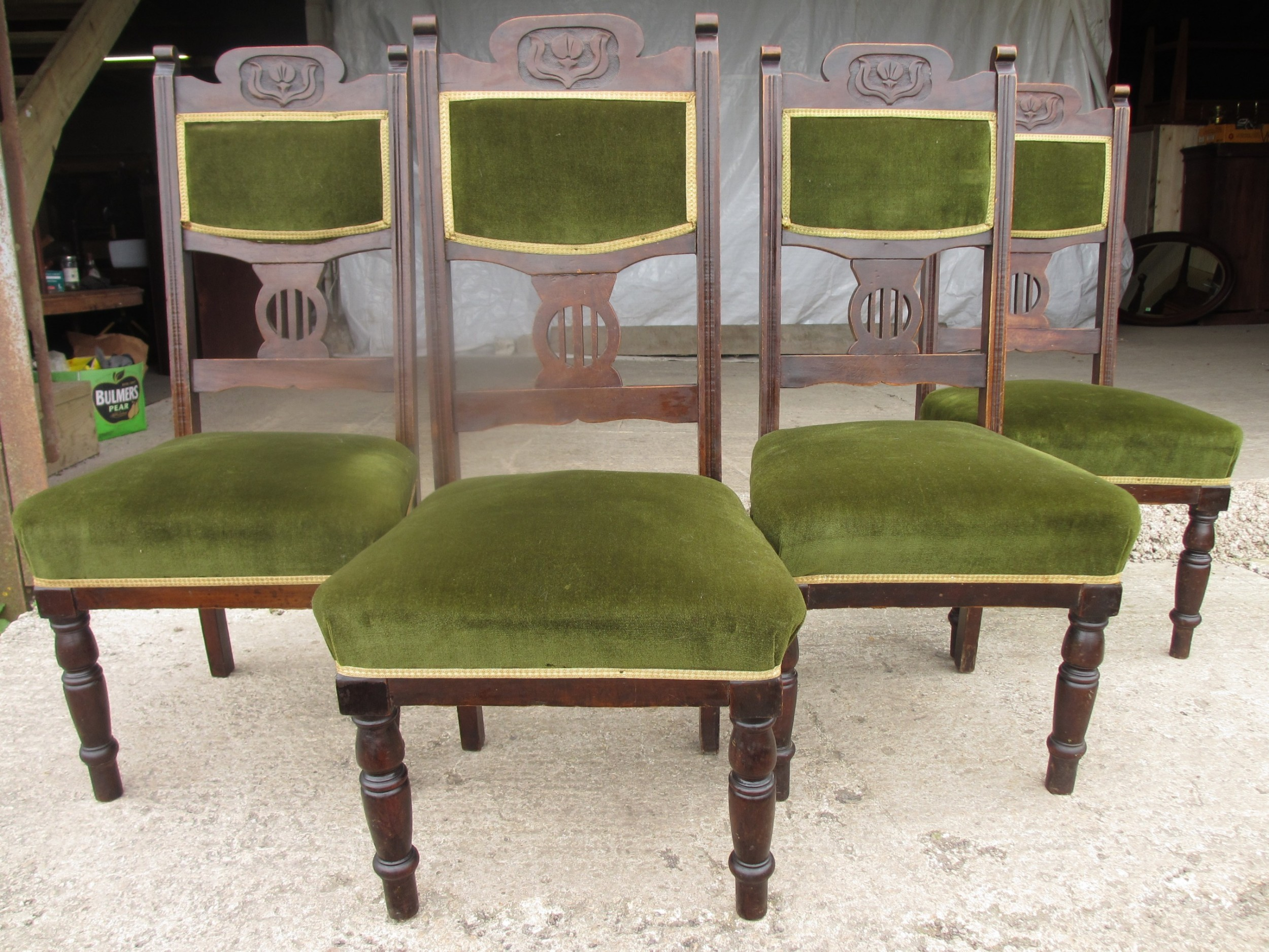 four victorian mahogany art nouveau dining chairs