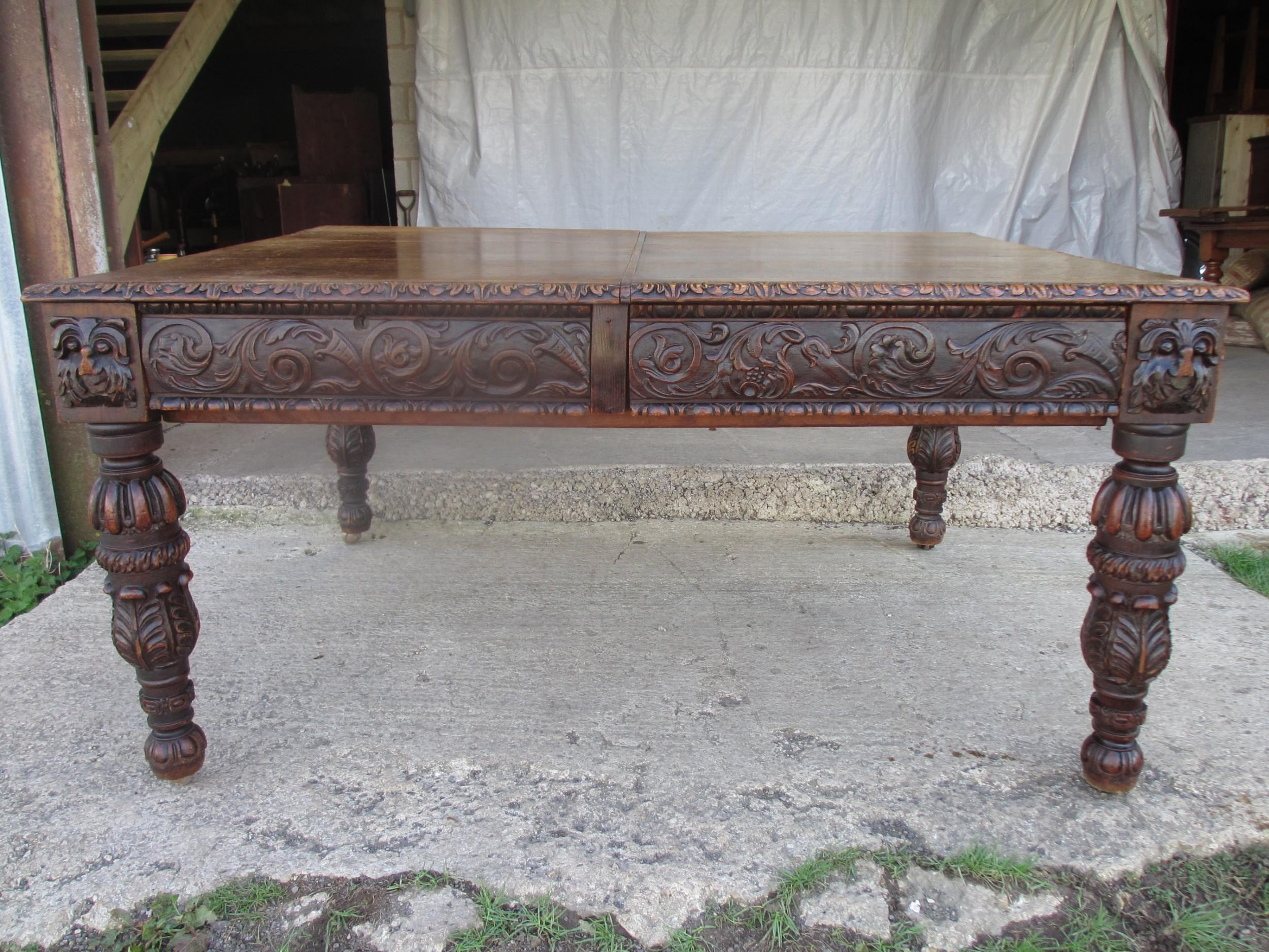victorian oak heavily carved partner's library desk