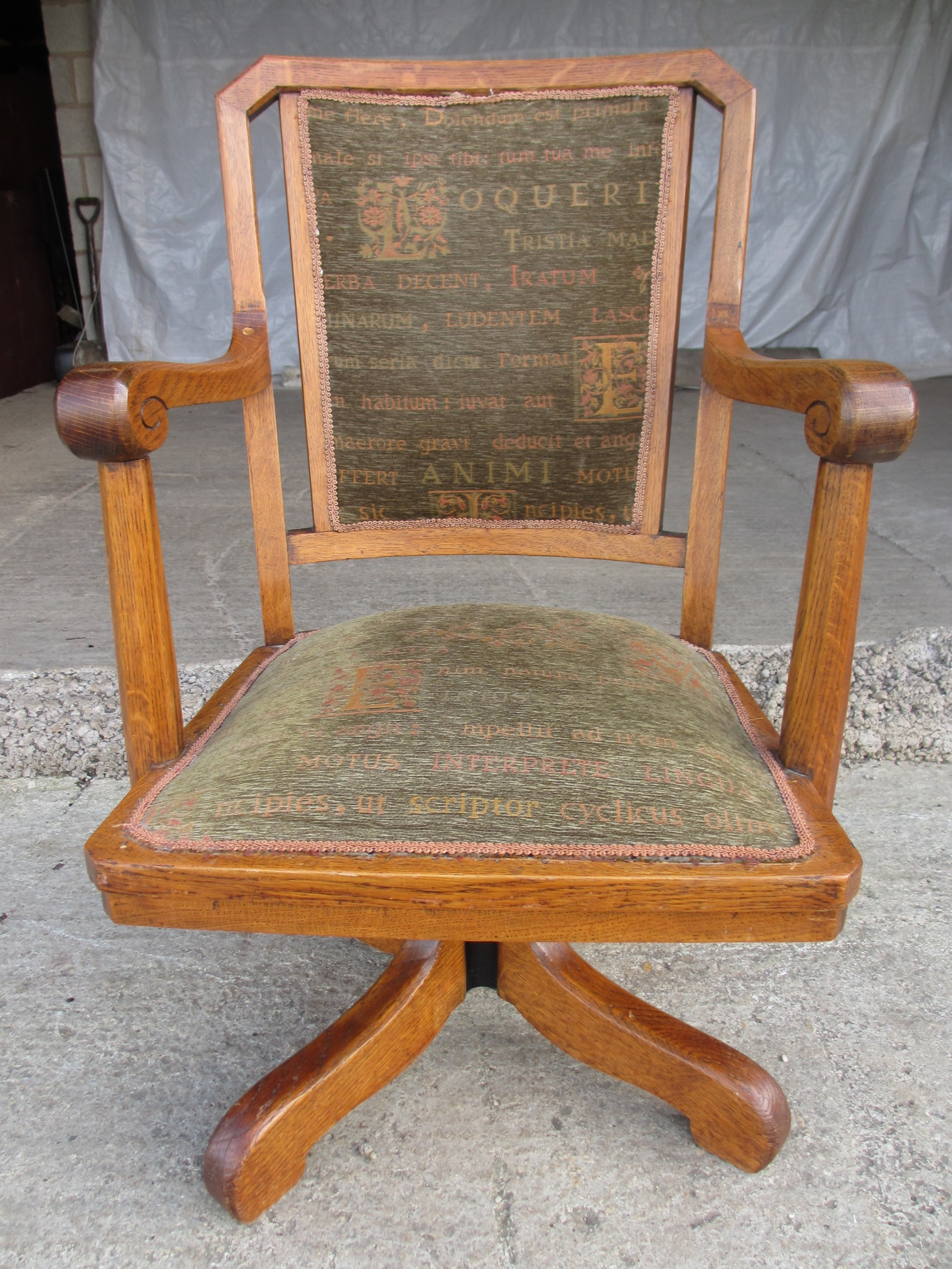victorian oak swivel desk chair with upholstered seat and back