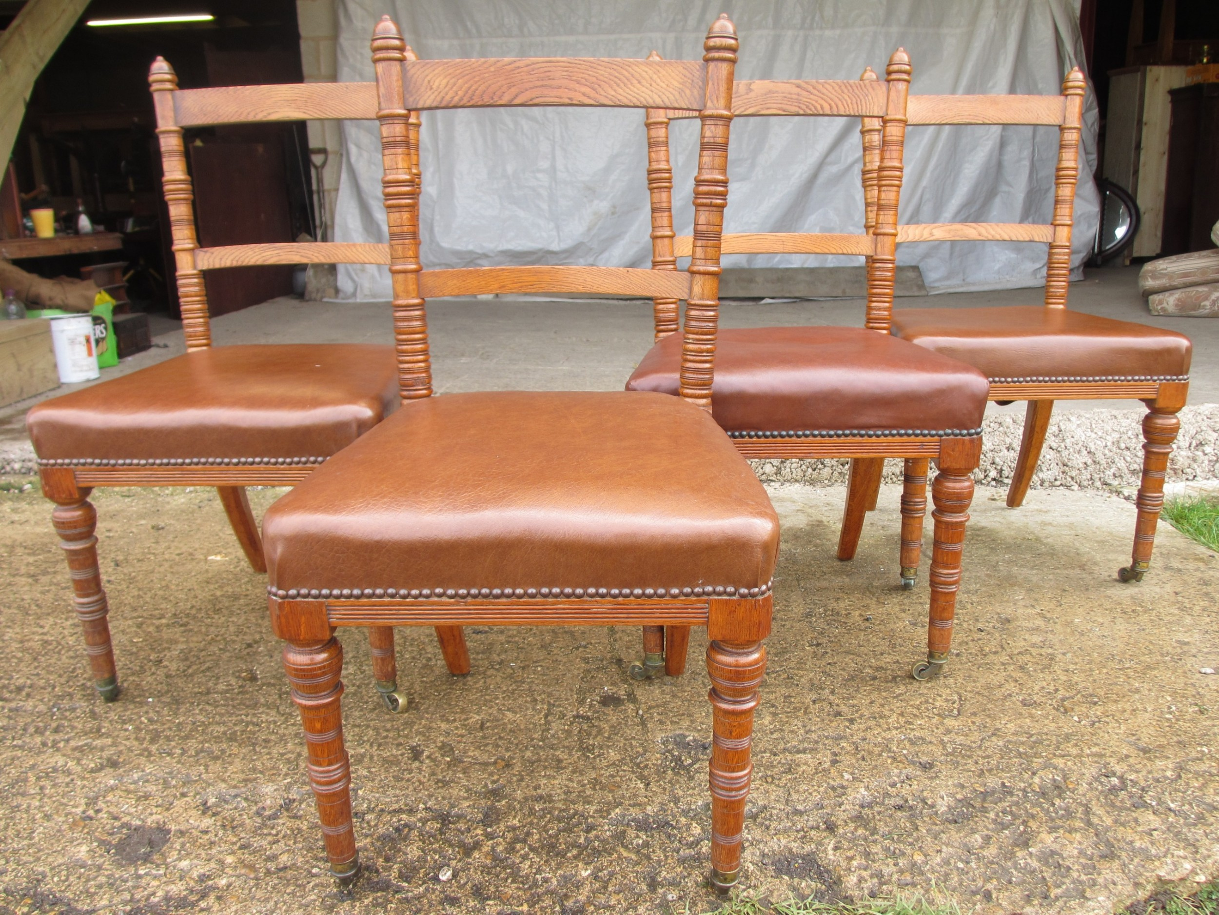 set of four victorian oak arts and crafts style kitchen dining chairs