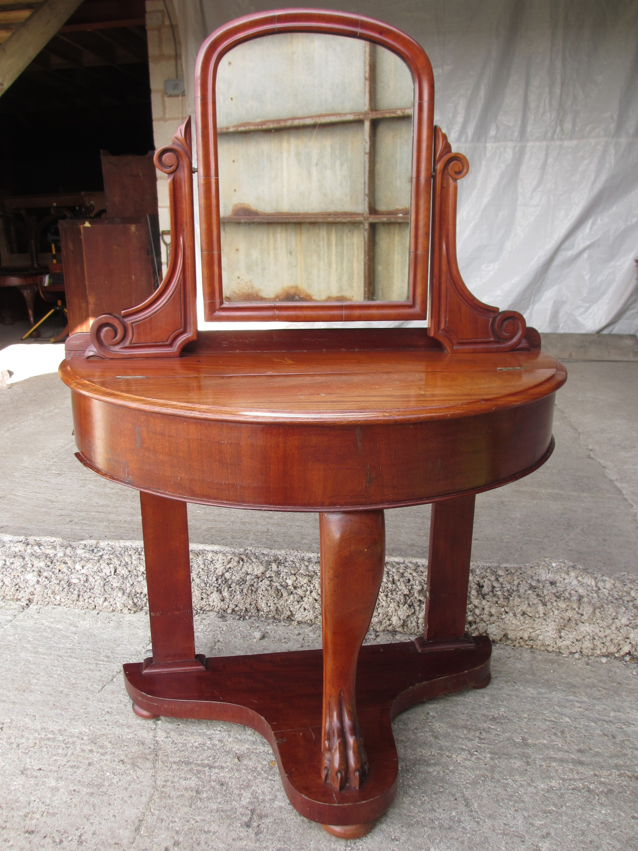 victorian mahogany duchess demi lune dressing table with swing mirror
