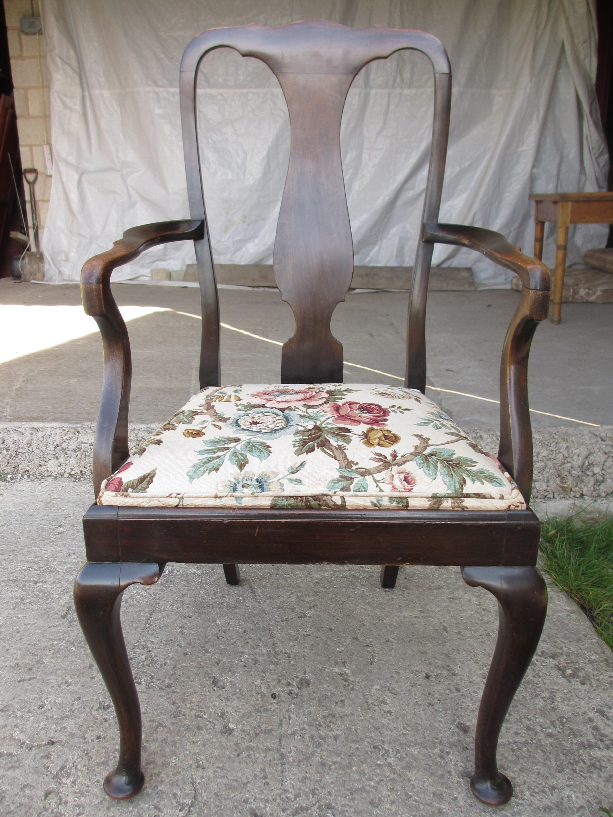 19th century mahogany vase splat back carver arm chair