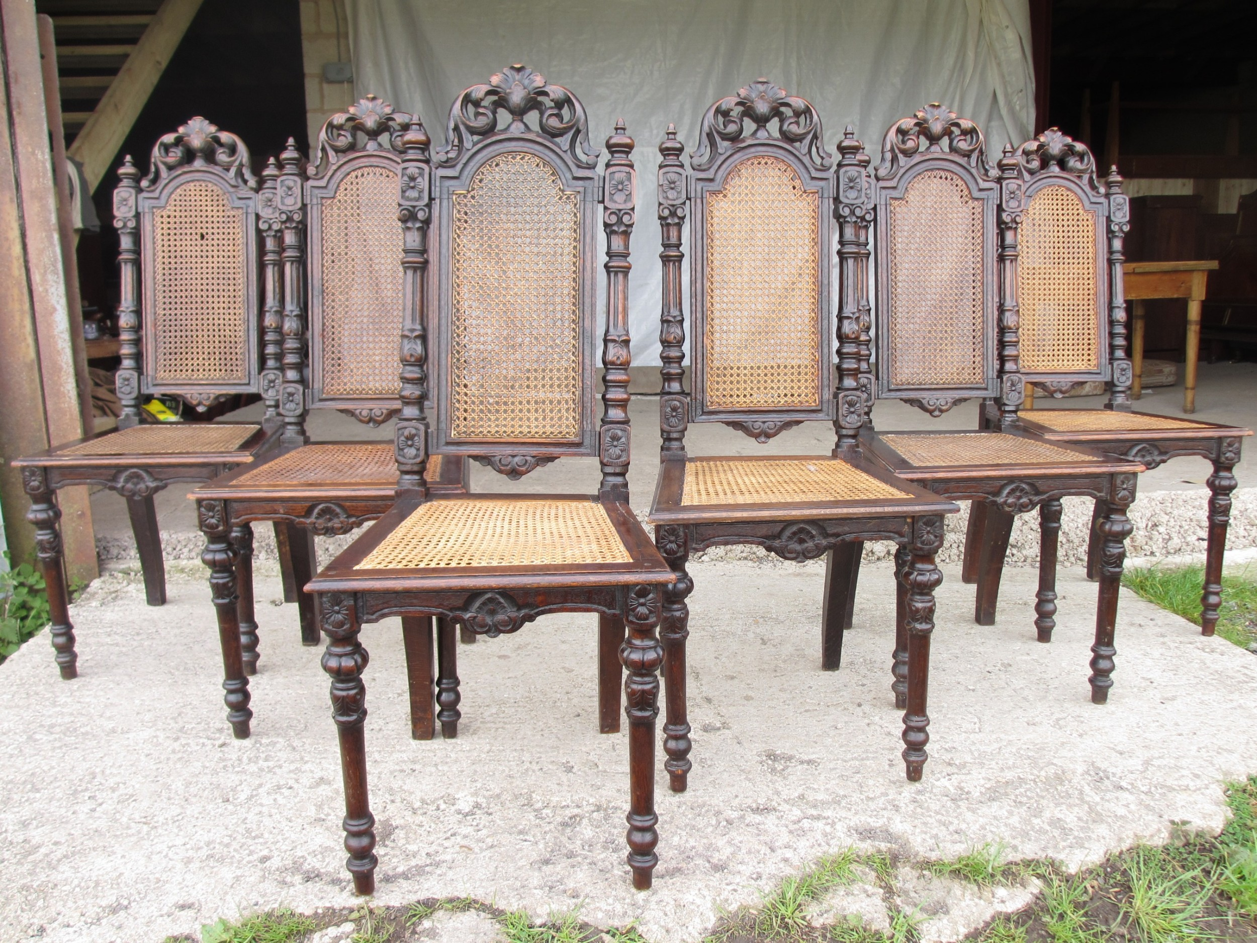 set of 4 oak victorian carved bergere dining chairs