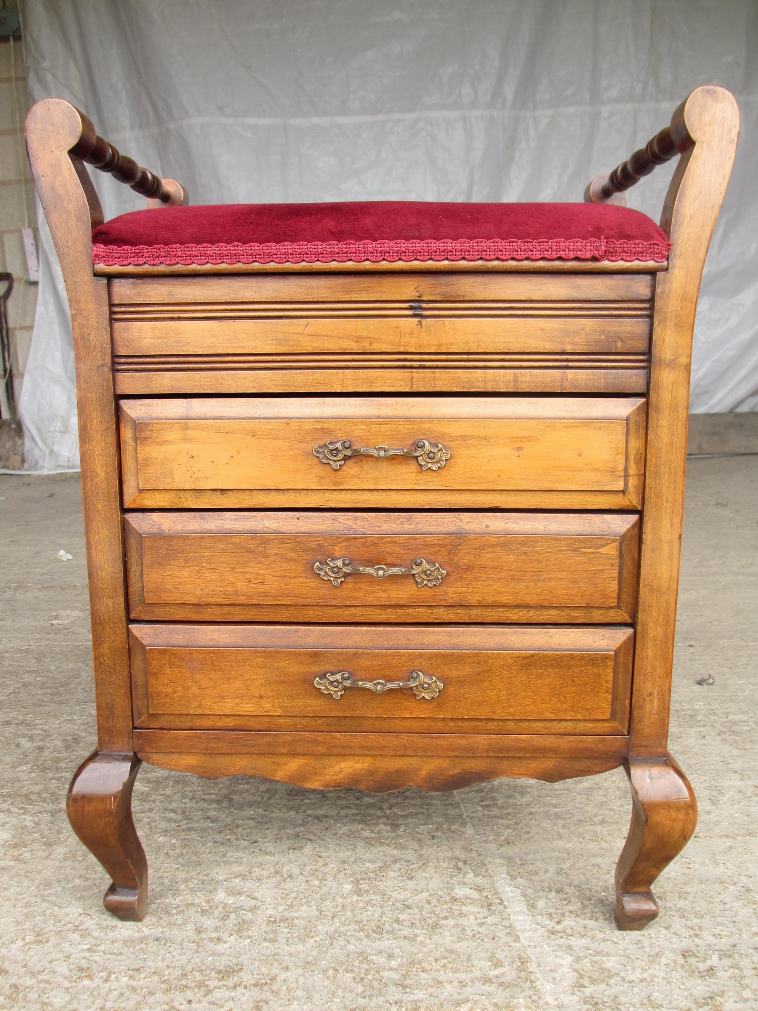 edwardian mahogany music stool with upholstered lift up seat