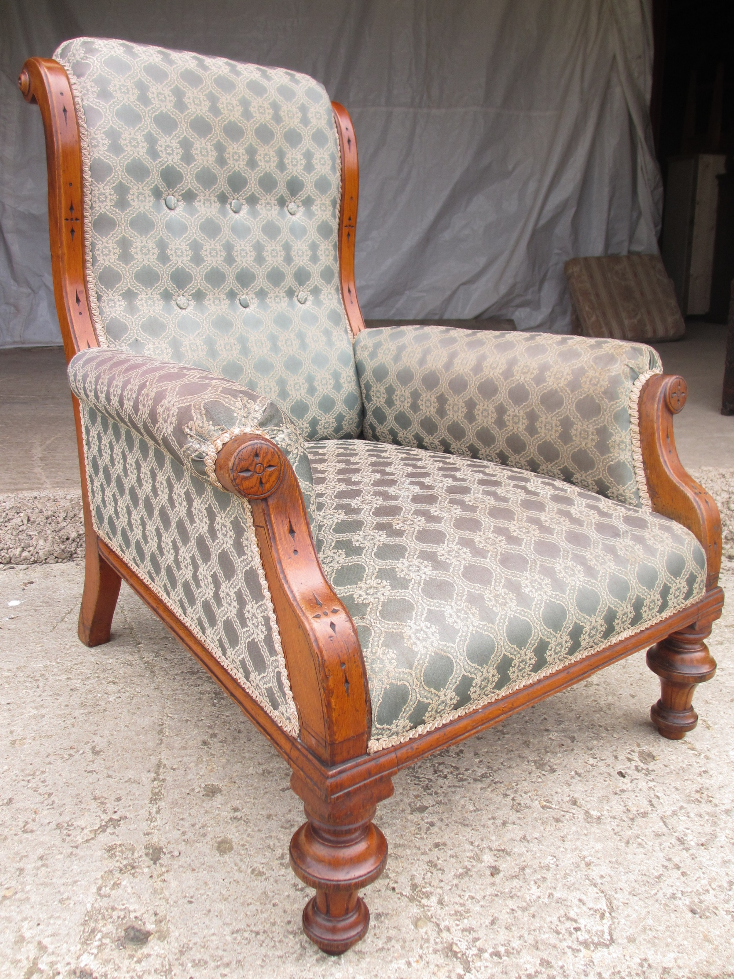 victorian oak framed gothic style fully upholstered easy armchair