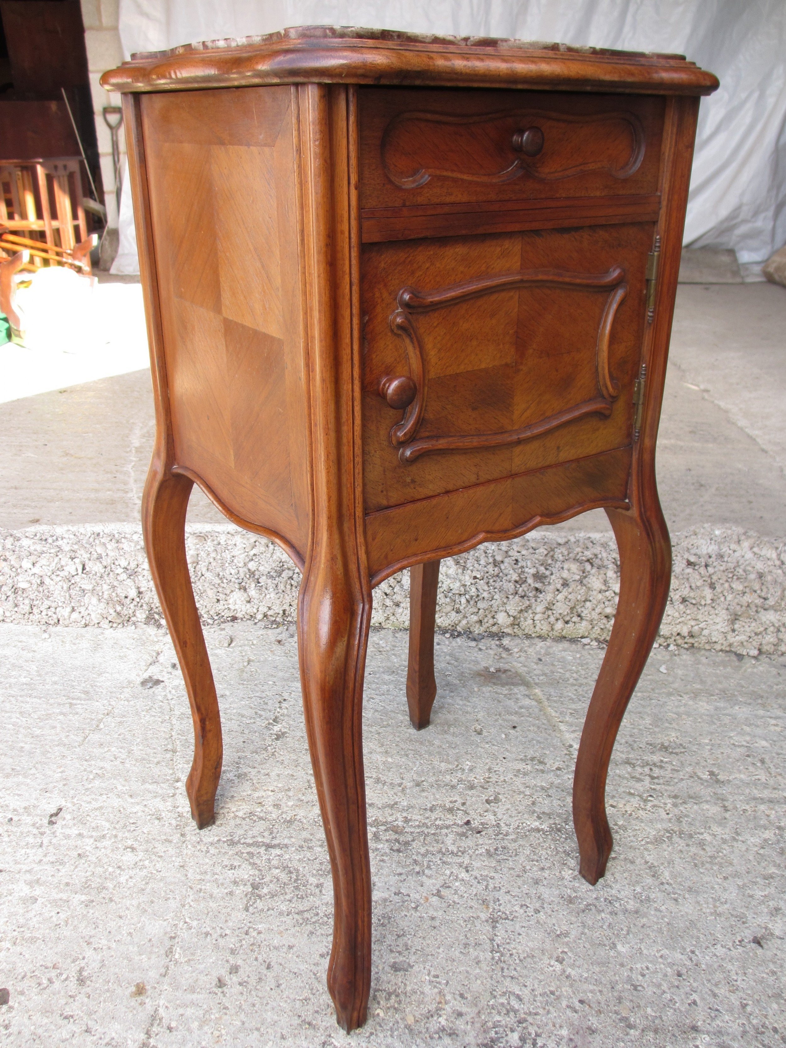 19th century french walnut and oak marble topped bedside cabinet