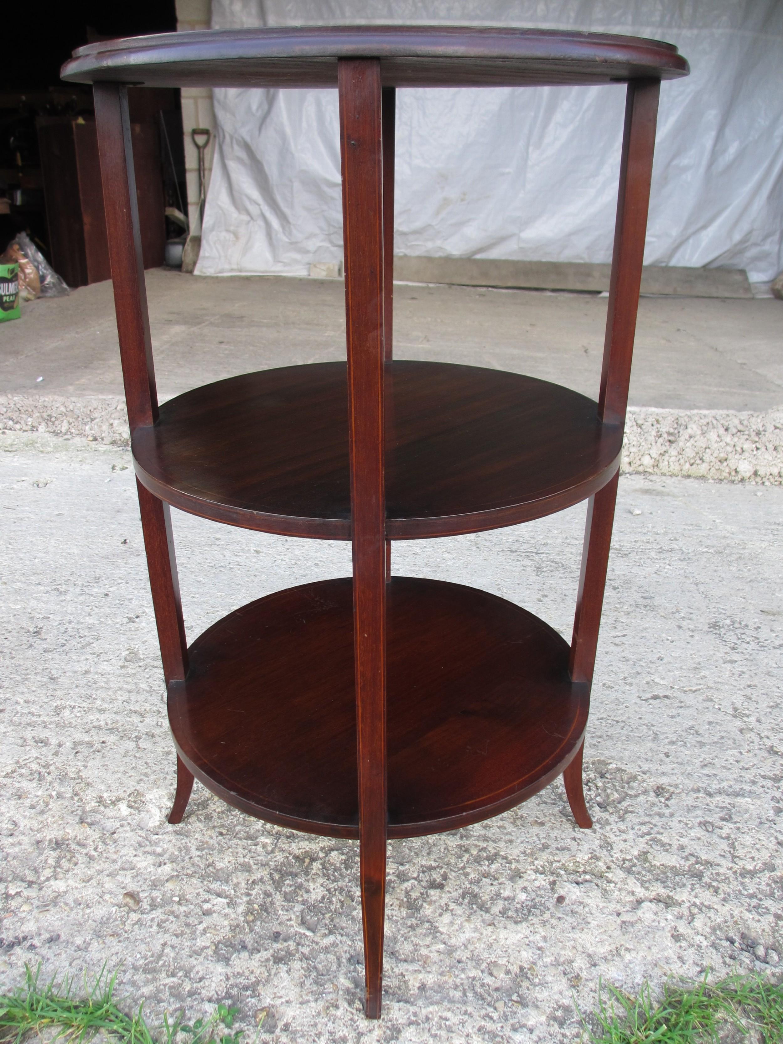 edwardian mahogany inlaid circular 3 tier etagere
