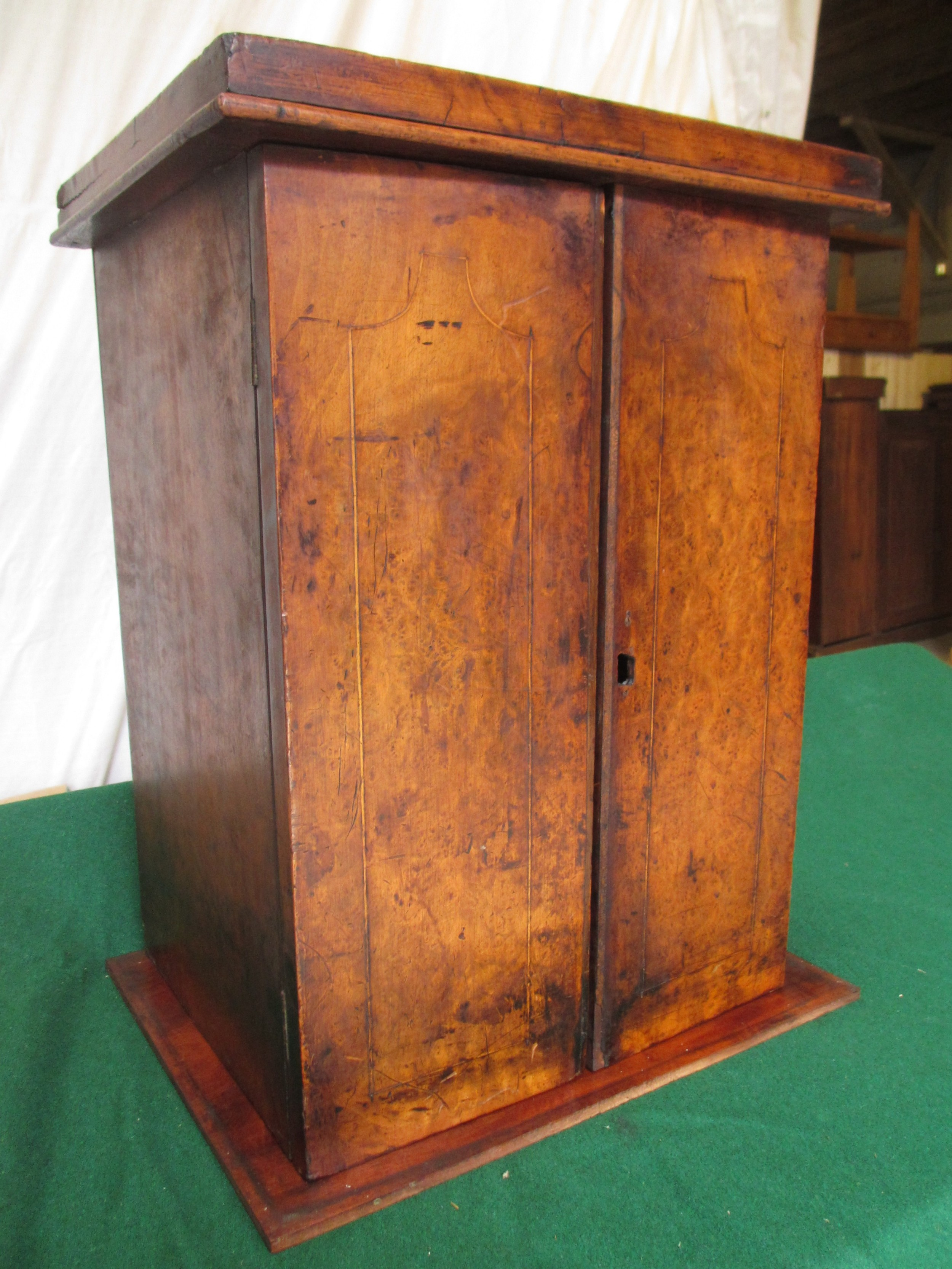 19th century walnut and mahogany collectors campaign style 4 drawer cabinet