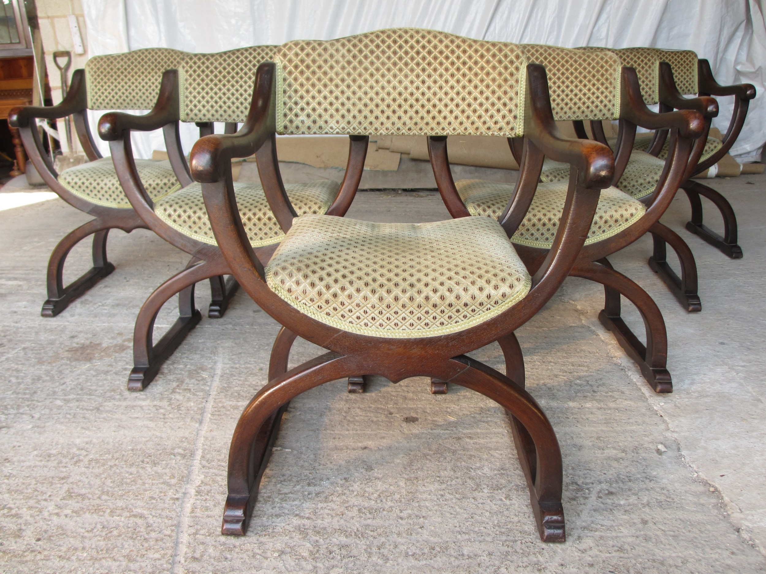 unusual late 19th century set of six oak dining armchairs