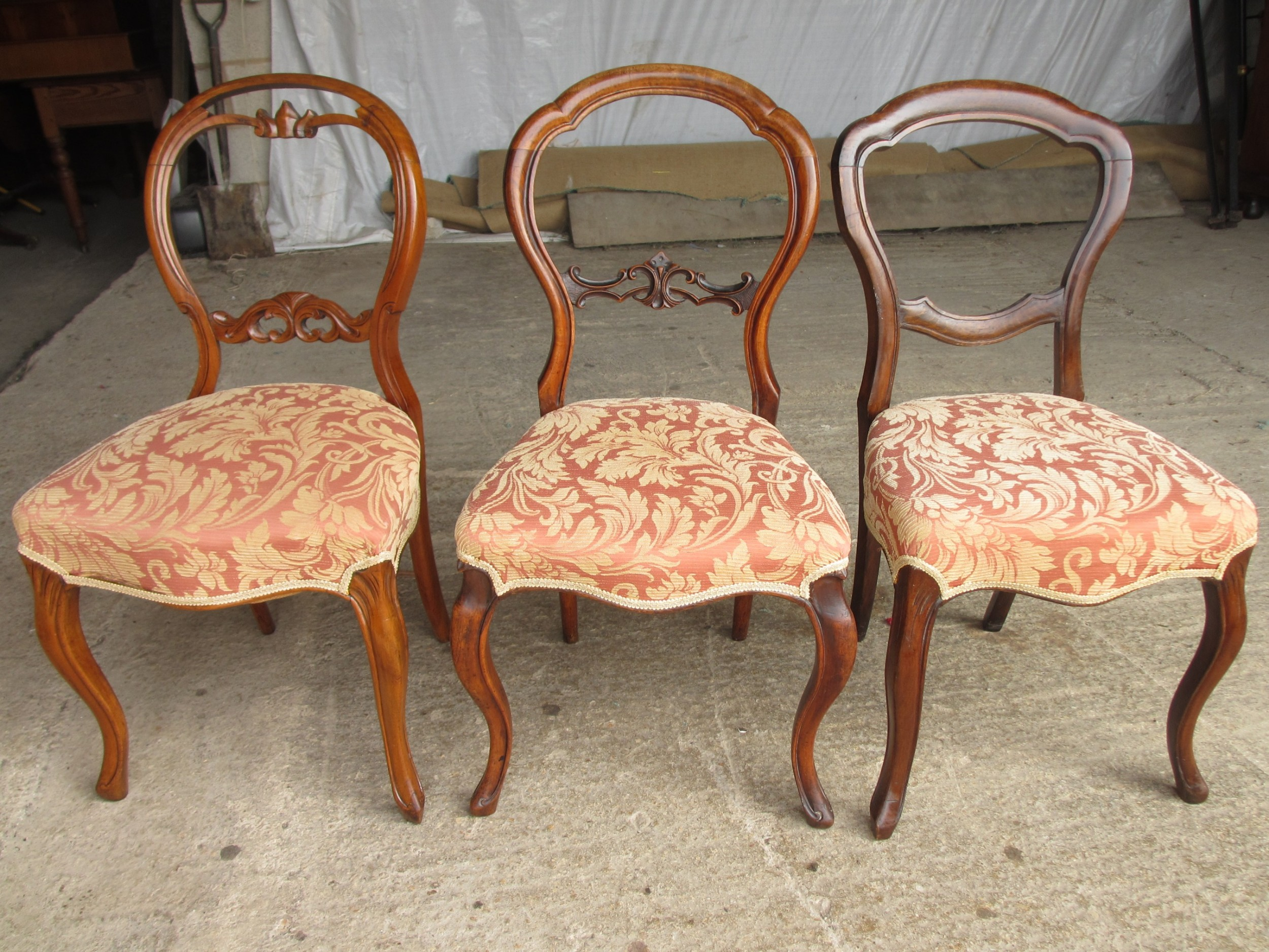 victorian matched set of 3 mahogany balloon back dining chairs