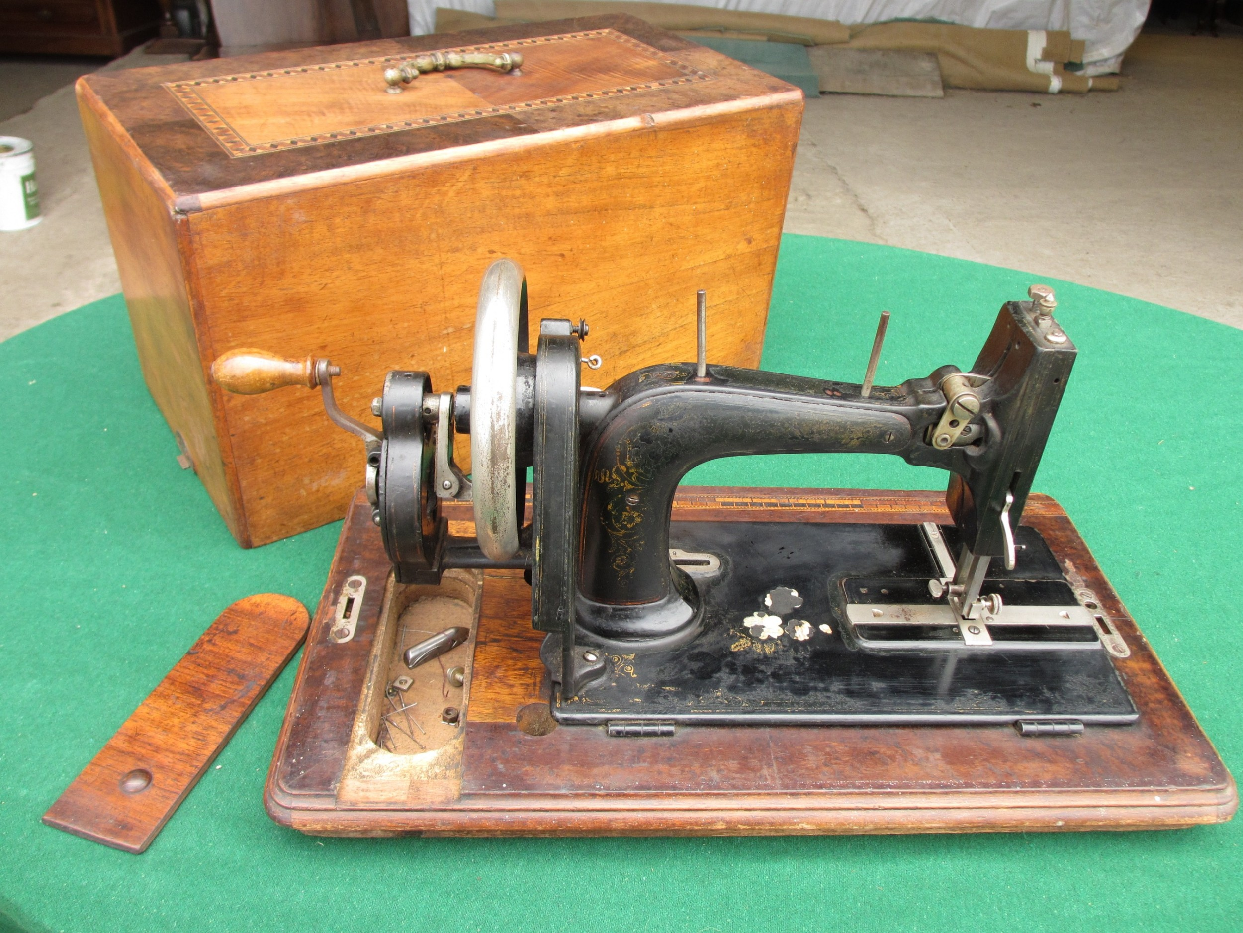 victorian walnut and tunbridge inlaid boxed cased sewing machine faudels of london