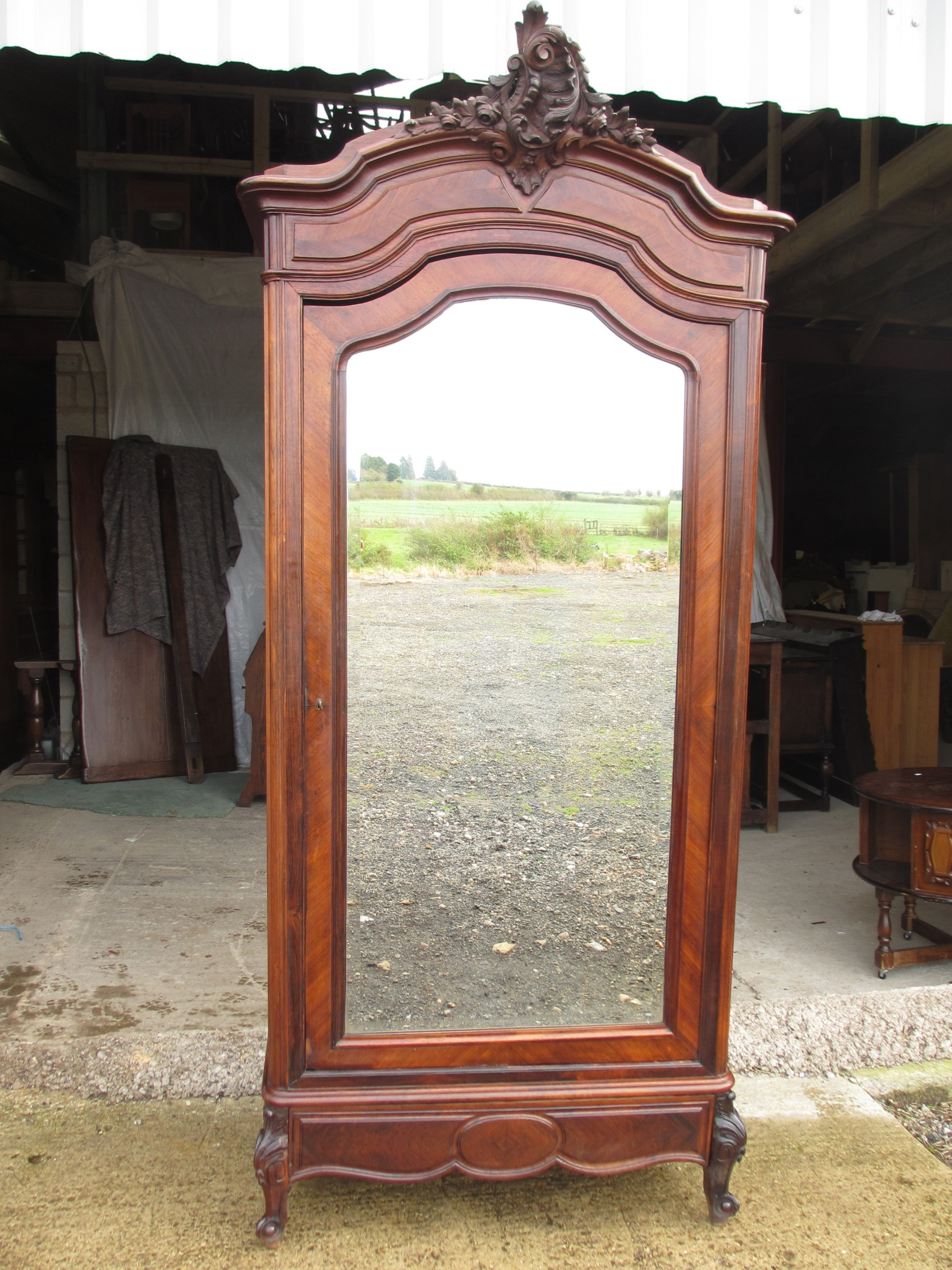 superb 19th century french carved rosewood mirror door armoire wardrobe