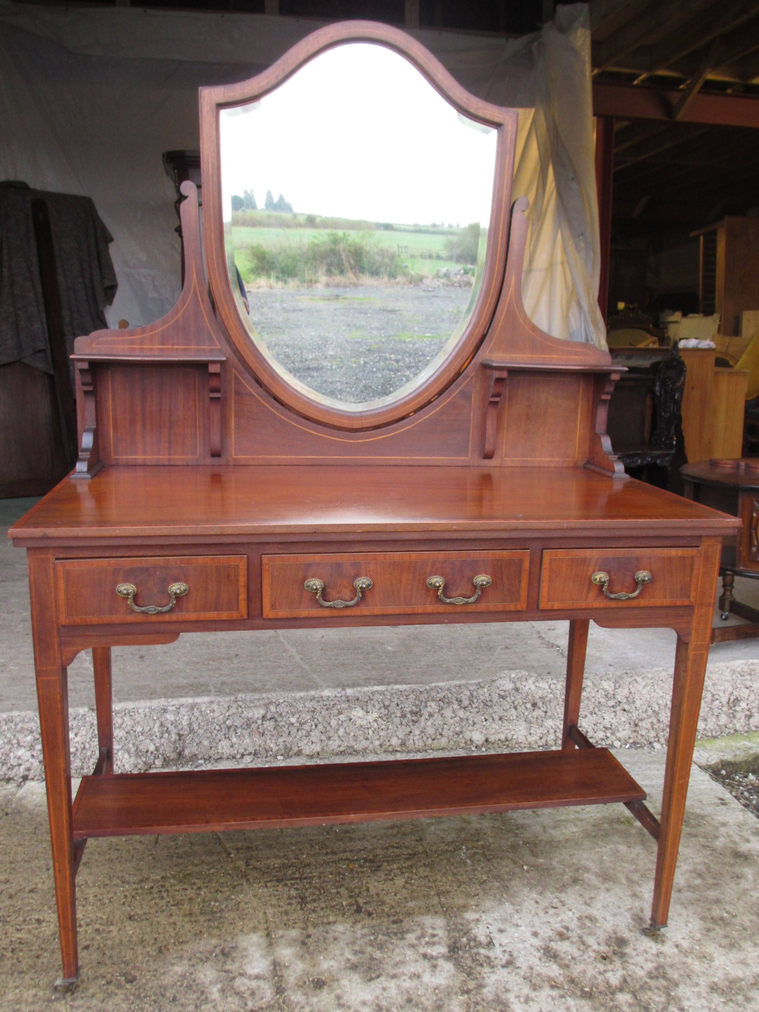 edwardian crossbanded mahogany sheraton style shield mirror dressing table